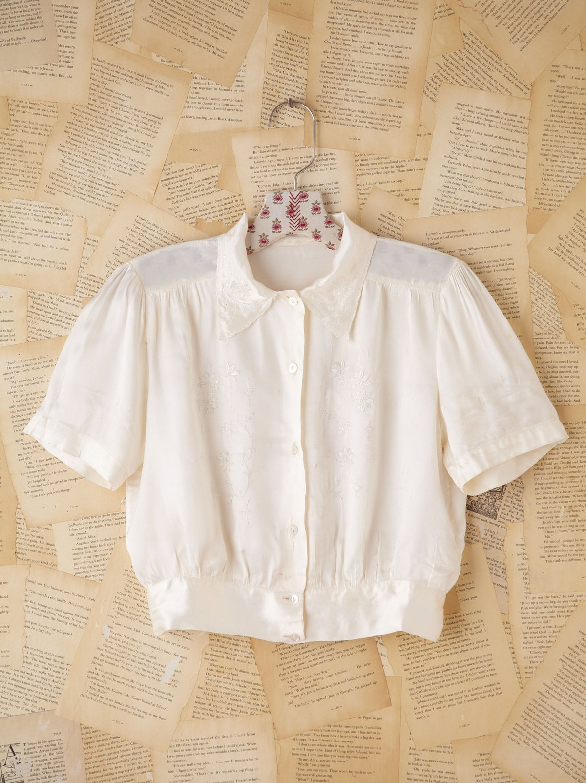Vintage Cream Charmeuse Embroidered Top