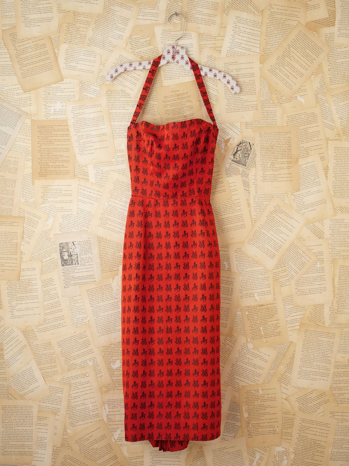 Vintage Red Halter Dress with Chinese Calligraphy