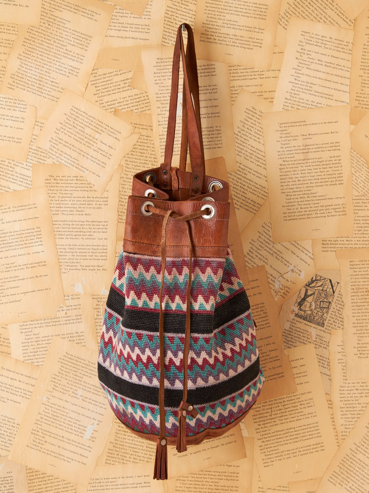 South American Leather and Woven Bucket Bag