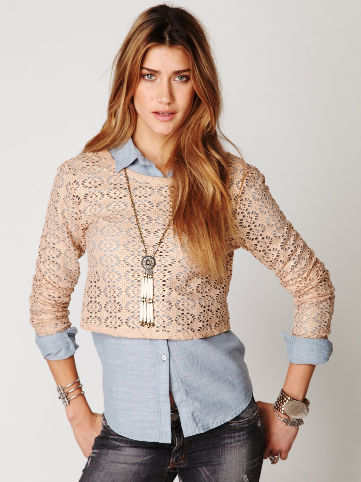 Lurex Crochet Long Sleeve Top