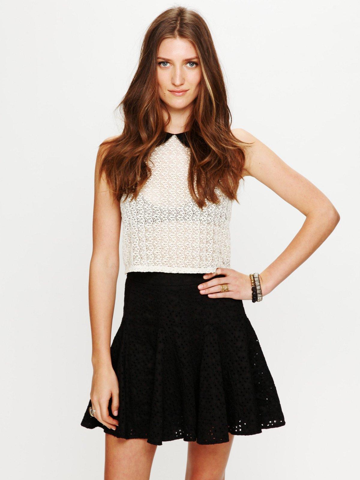 Eyelet Godet Mini Skirt