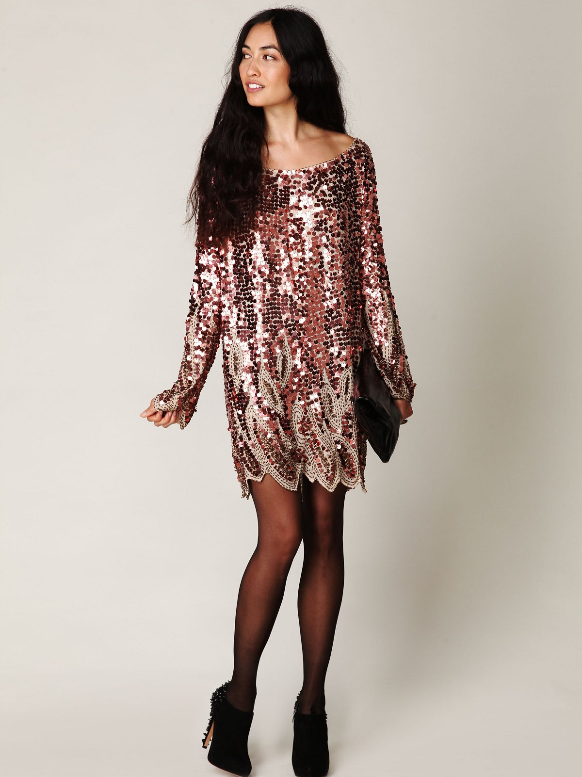 Long Sleeve Pailettes Dress