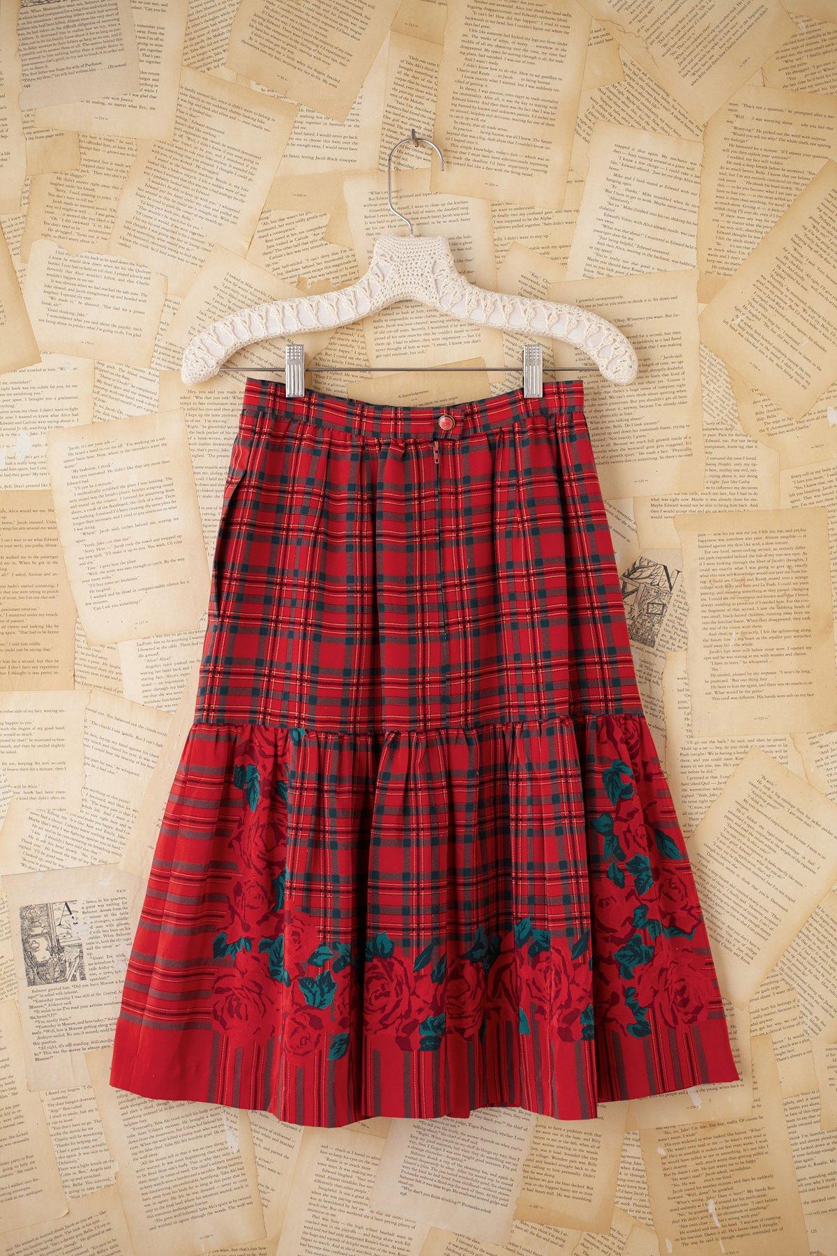 Vintage Silk Plaid Skirt