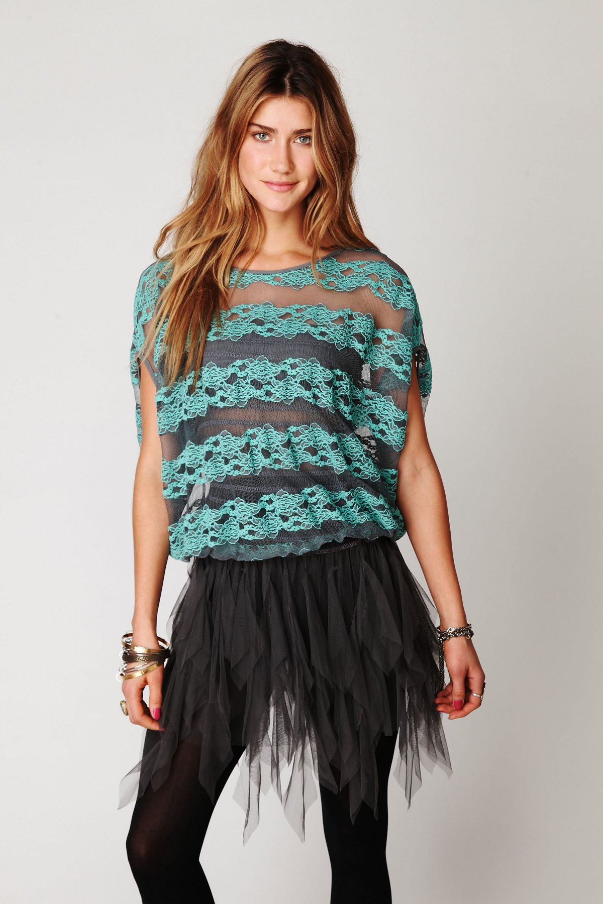 County Fair Banded Bottom Lace Top