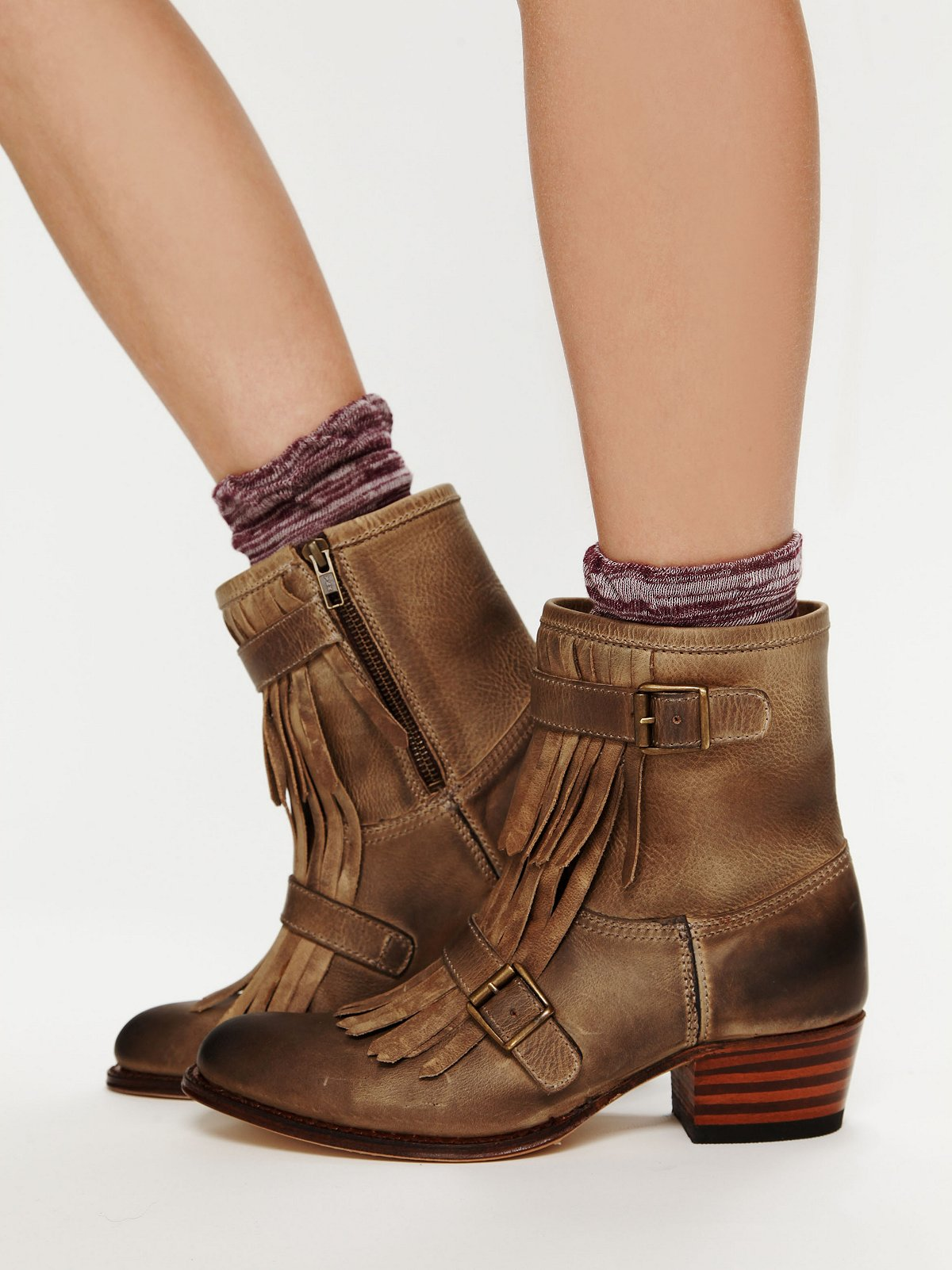 Leather Kilty Ankle Boot