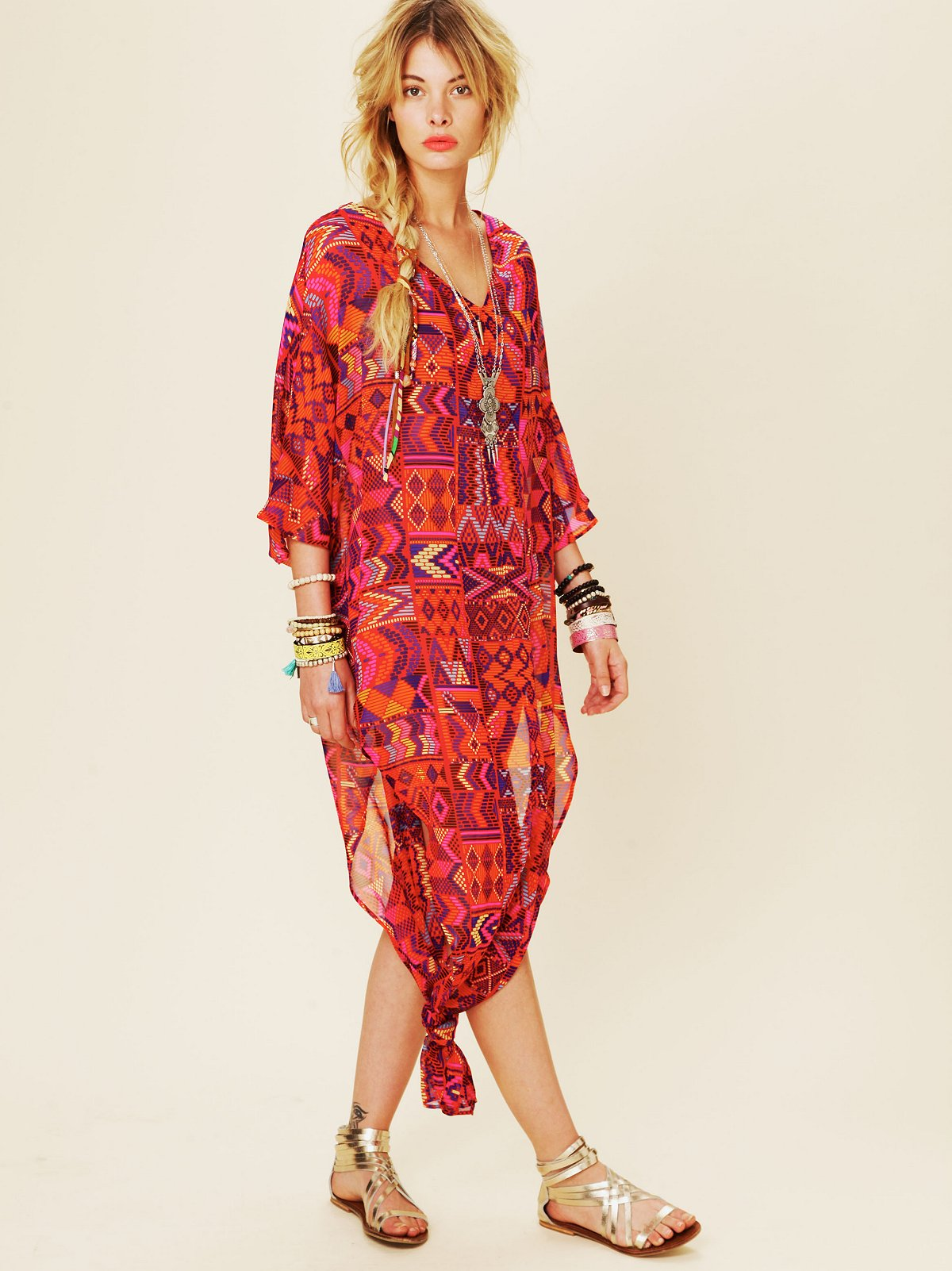 Long Chiffon Poncho Dress