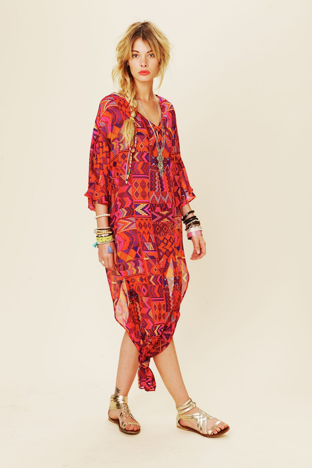 Long Chiffon Poncho Dress