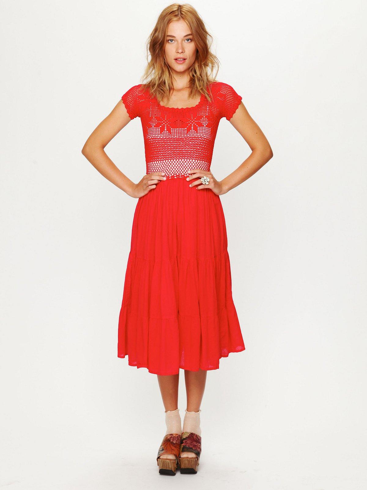Copal Crochet Short Sleeved Tiered Dress
