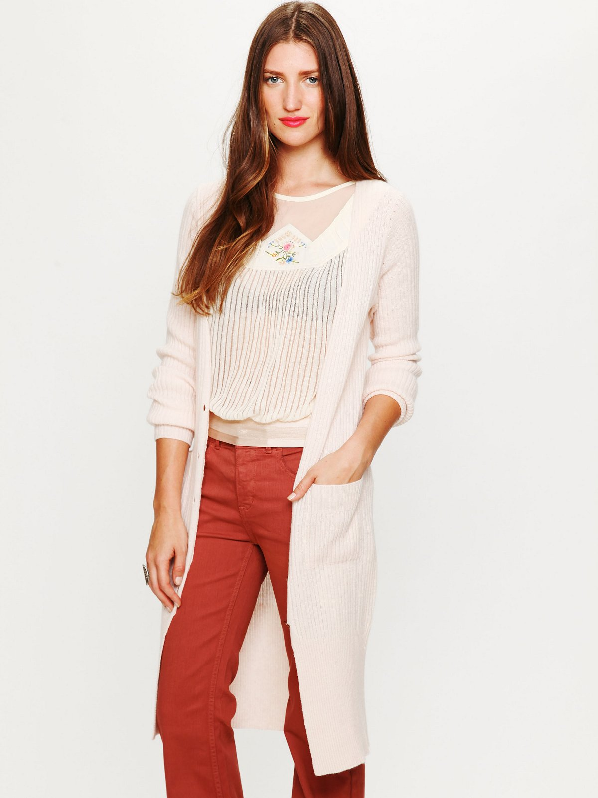 Ribbed Long Cashmere Cardigan