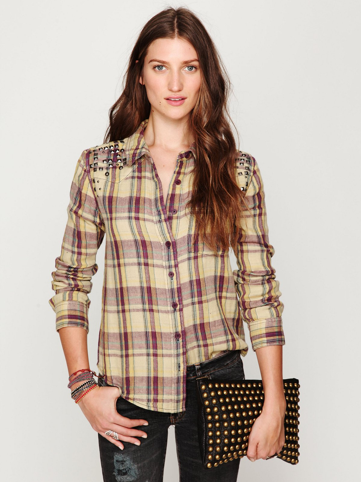Studded Plaid Buttondown