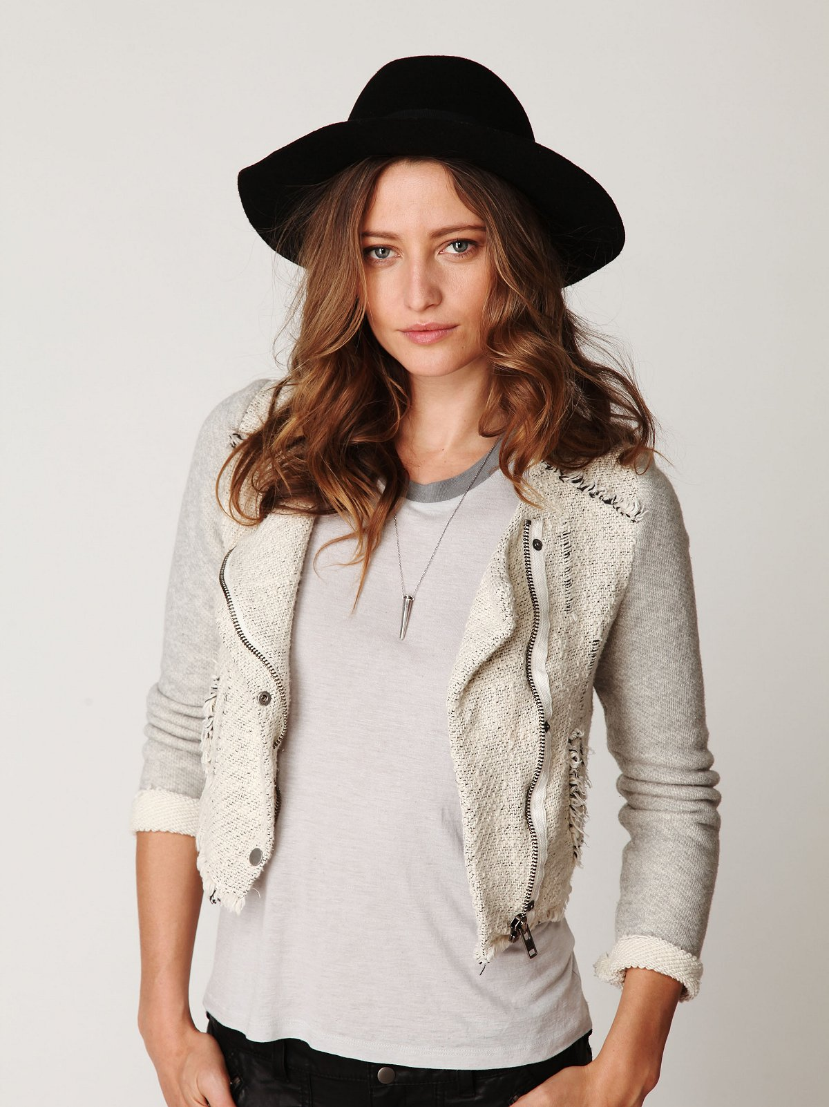Textured Zip Up Jacket