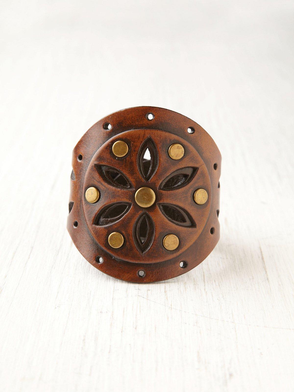 Poppy Cutout Leather Cuff