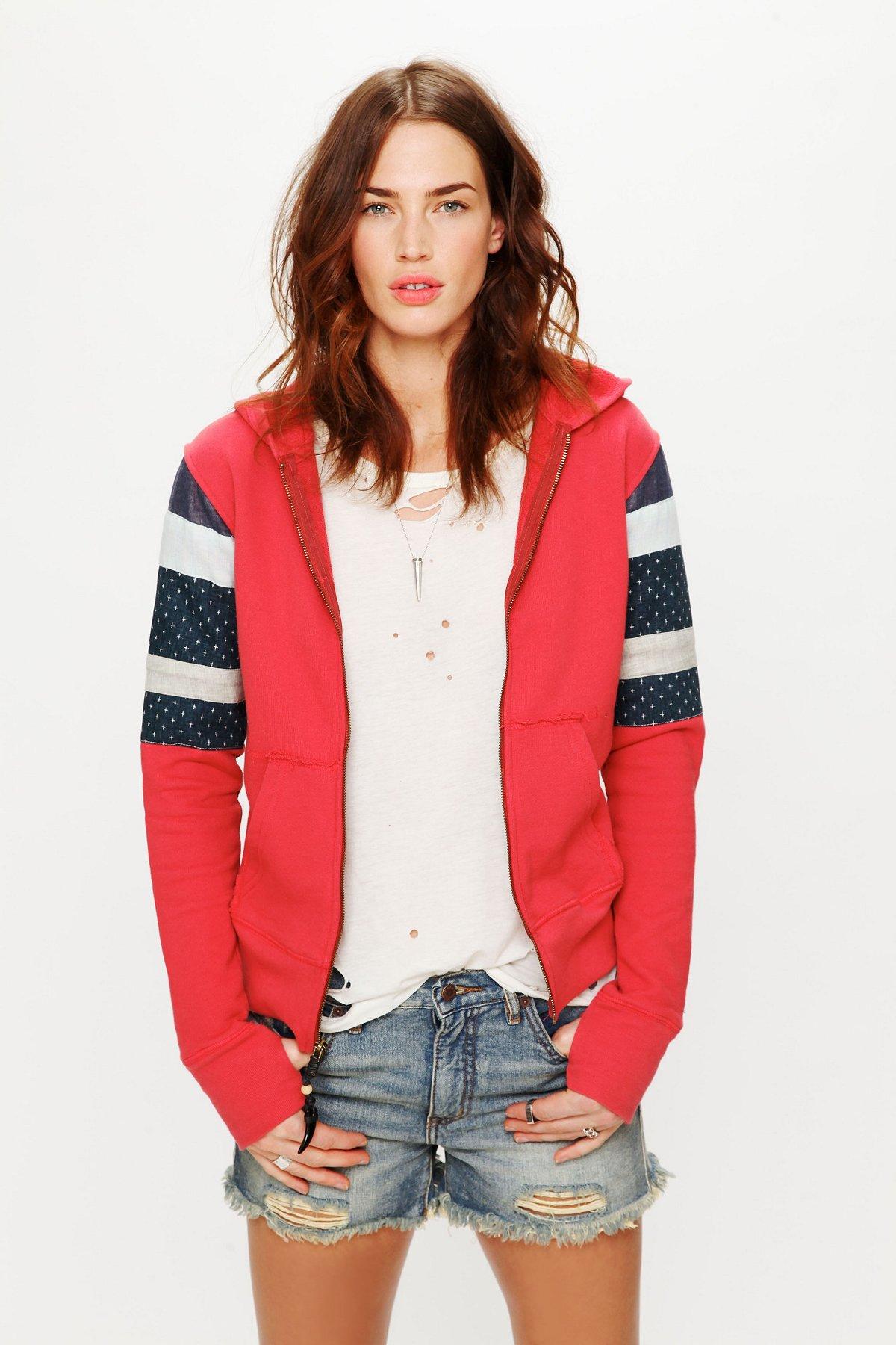 Stripe Sleeve Zip Hoodie