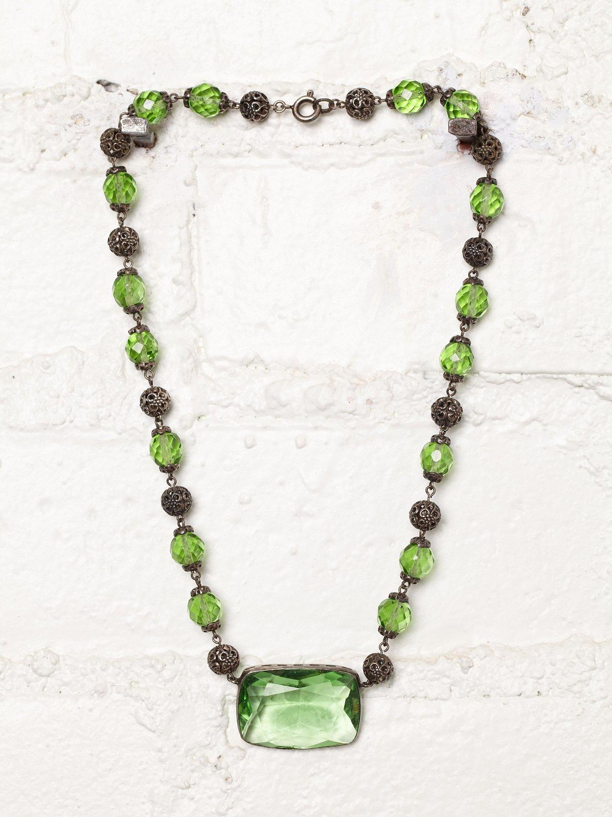 Vintage Green Czechoslovakian Crystal Necklace