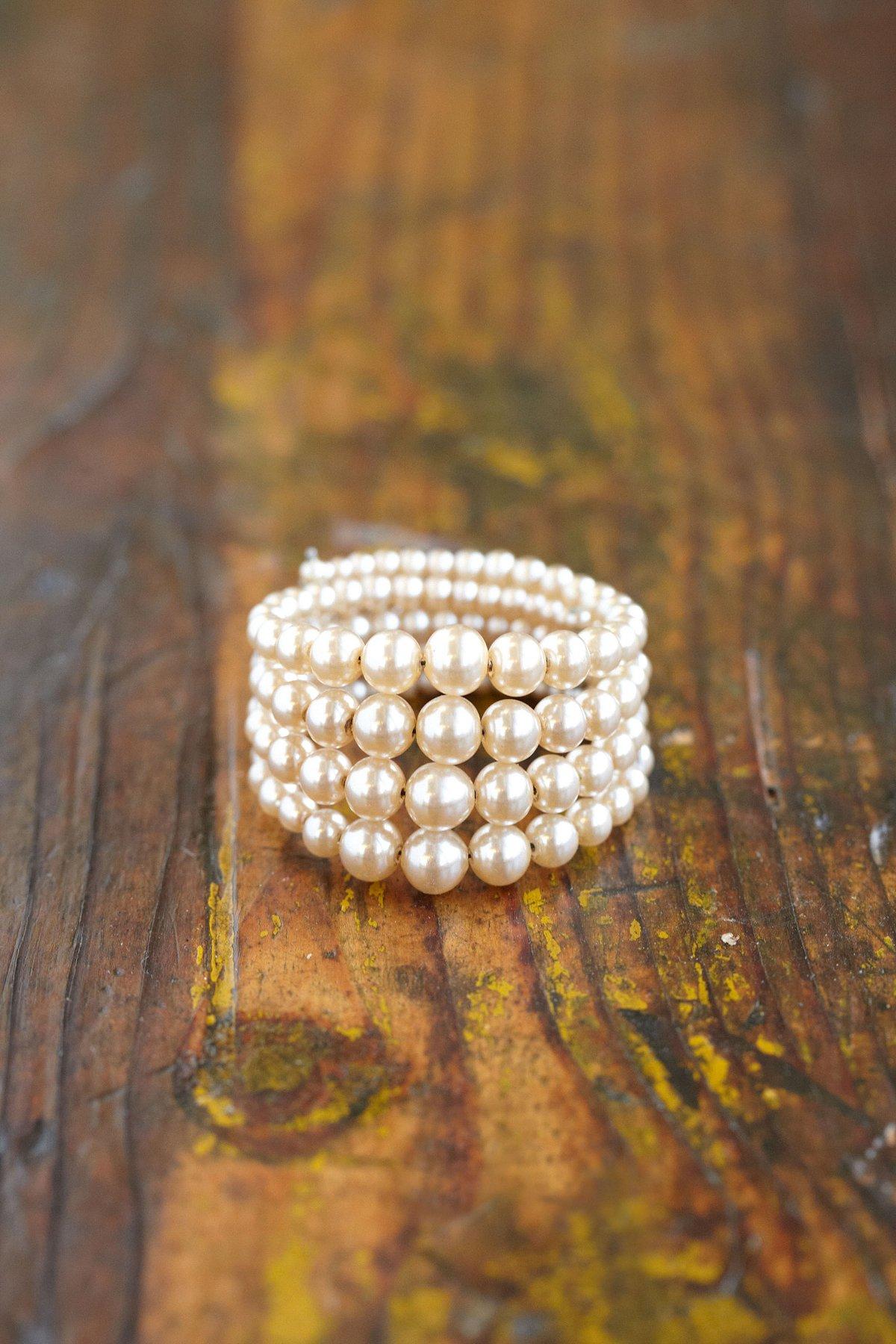 1950's Faux Pearl Wrap Cuff Bracelet