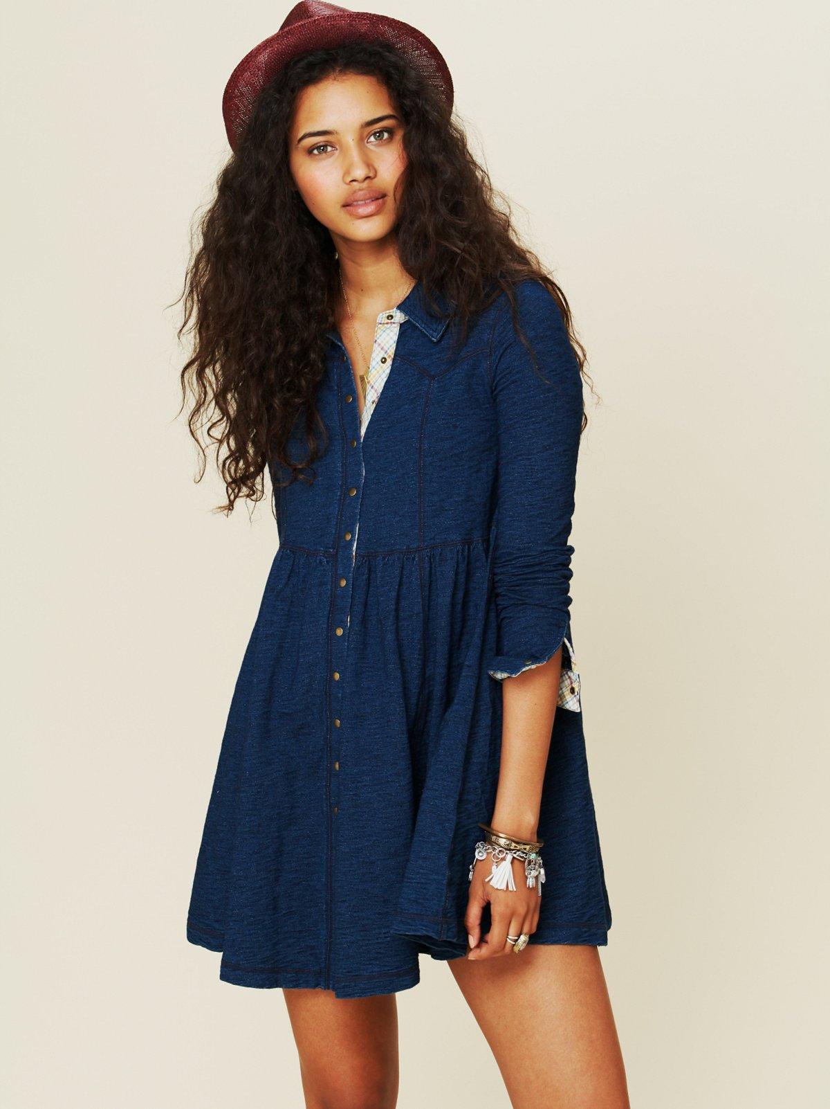 Denim Knit Shirt Dress