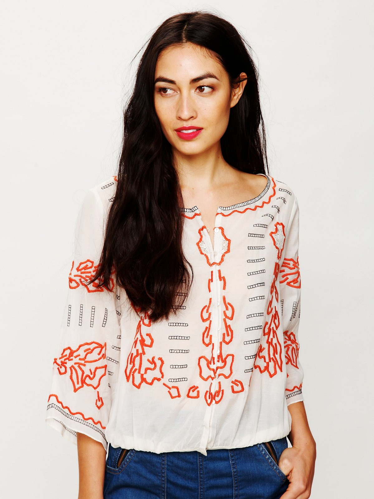 Embroidered Banded Top