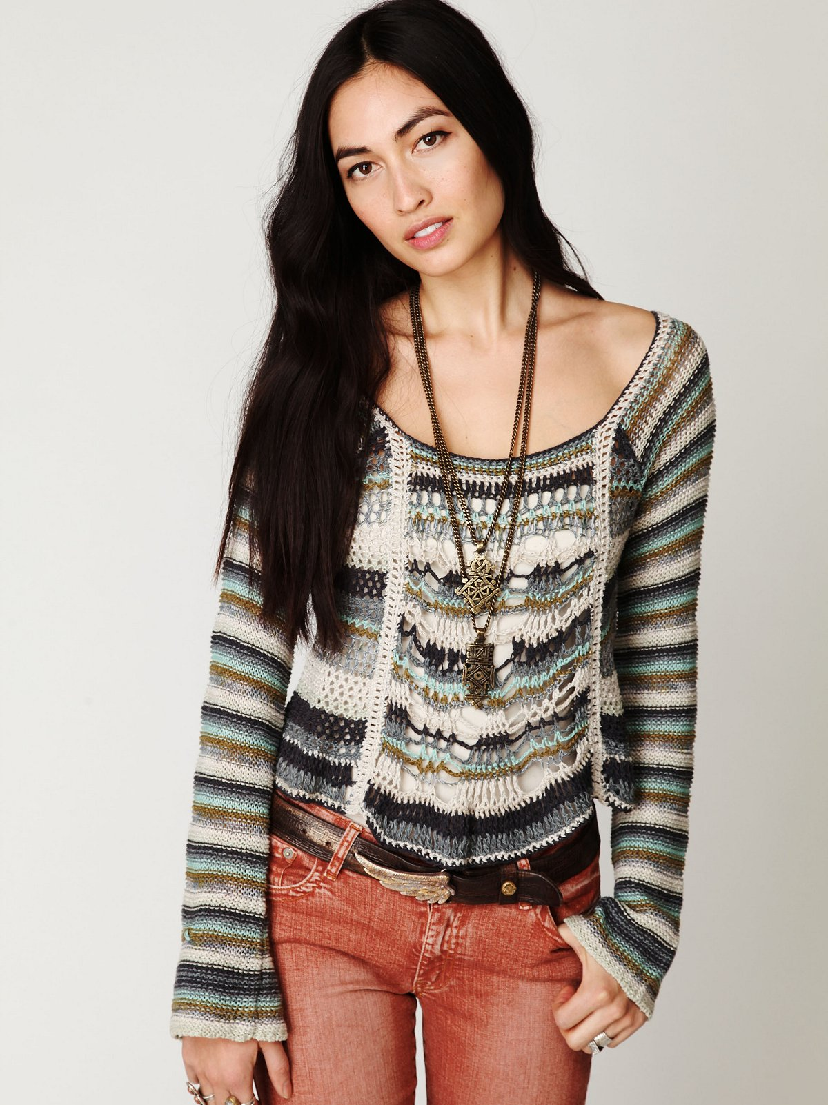 Open Stitch Multicolor Pullover