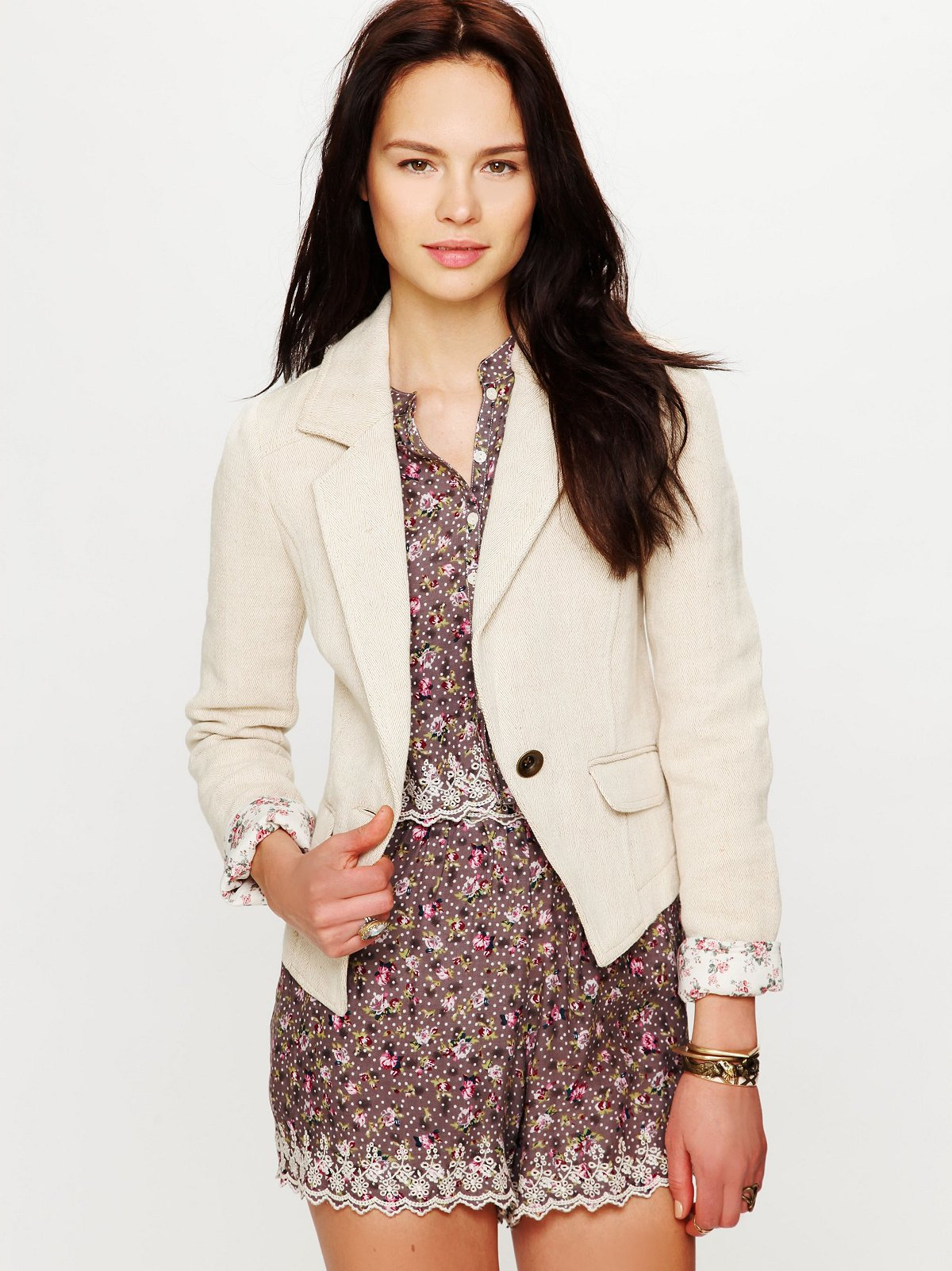 Textured Solid Shrunken Blazer