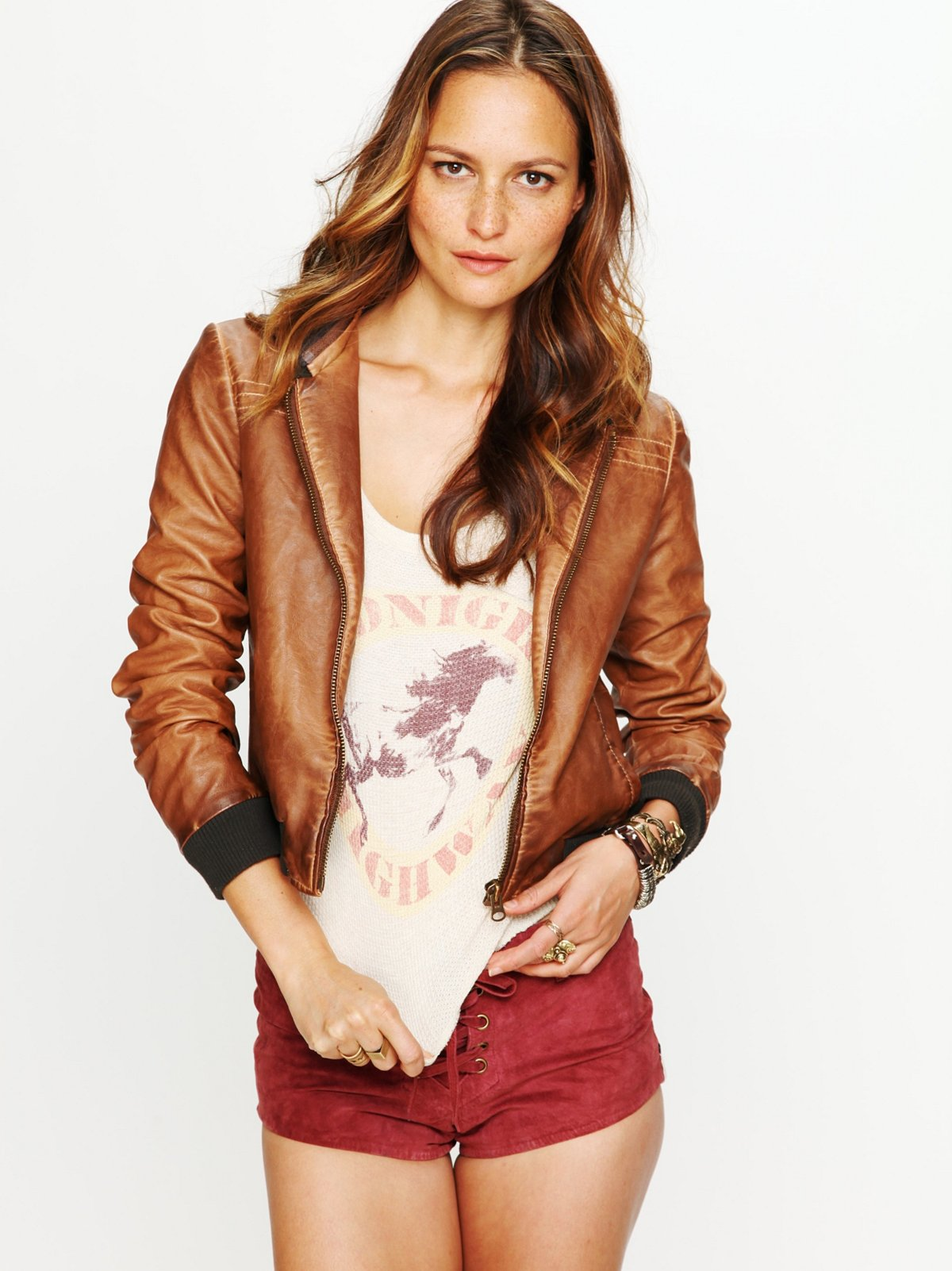 Brown Hooded Vegan Leather Jacket at Free People Clothing Boutique