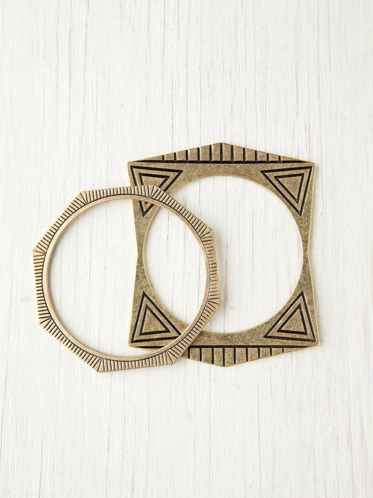 Bay Ave Engraved Geo Bracelet Set