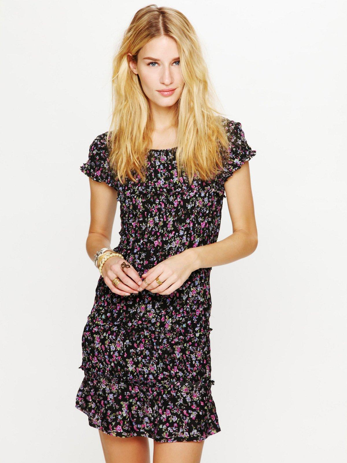 Smocked Short Sleeved Printed Dress