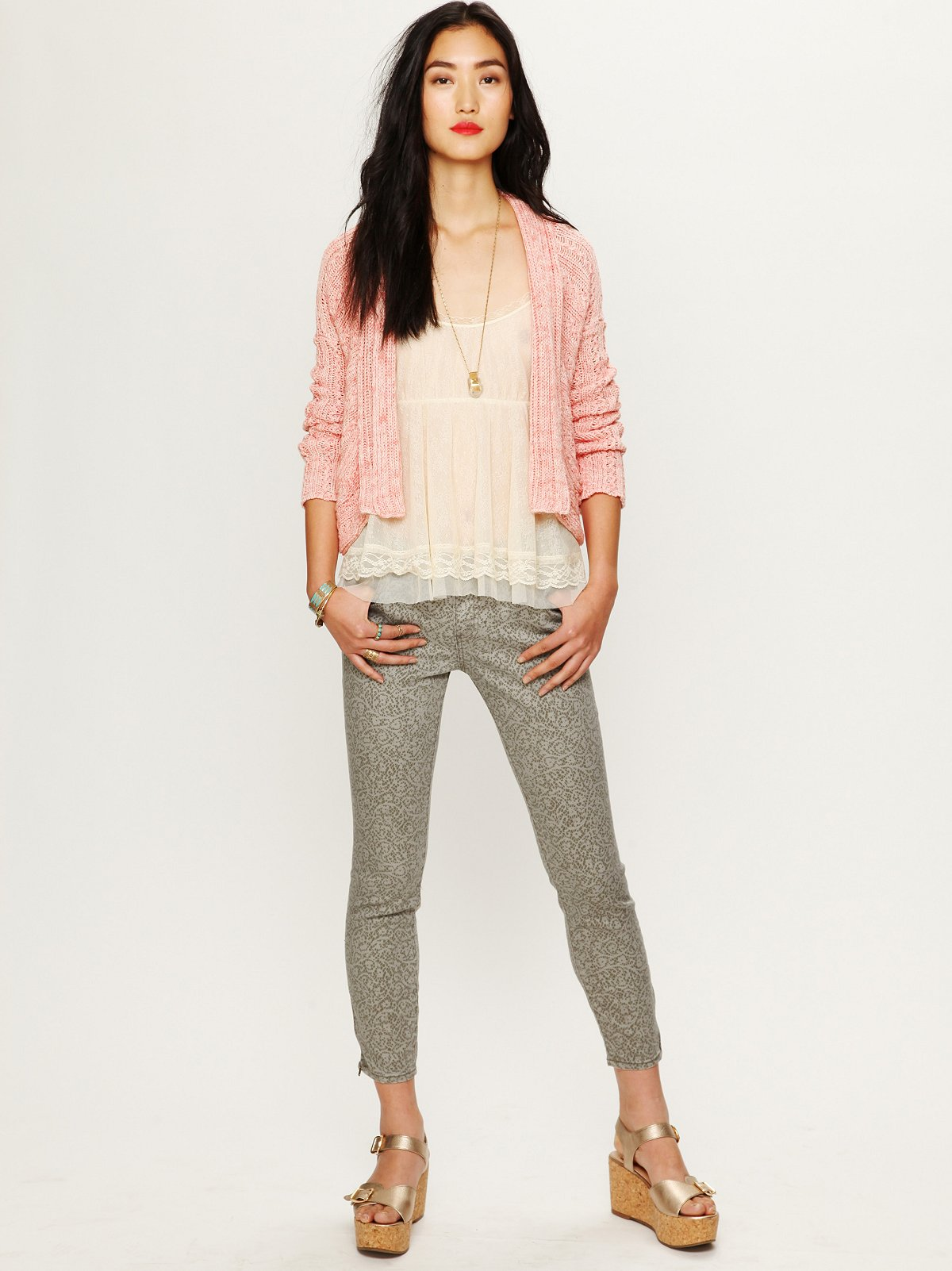 Lace Print Cropped Skinny