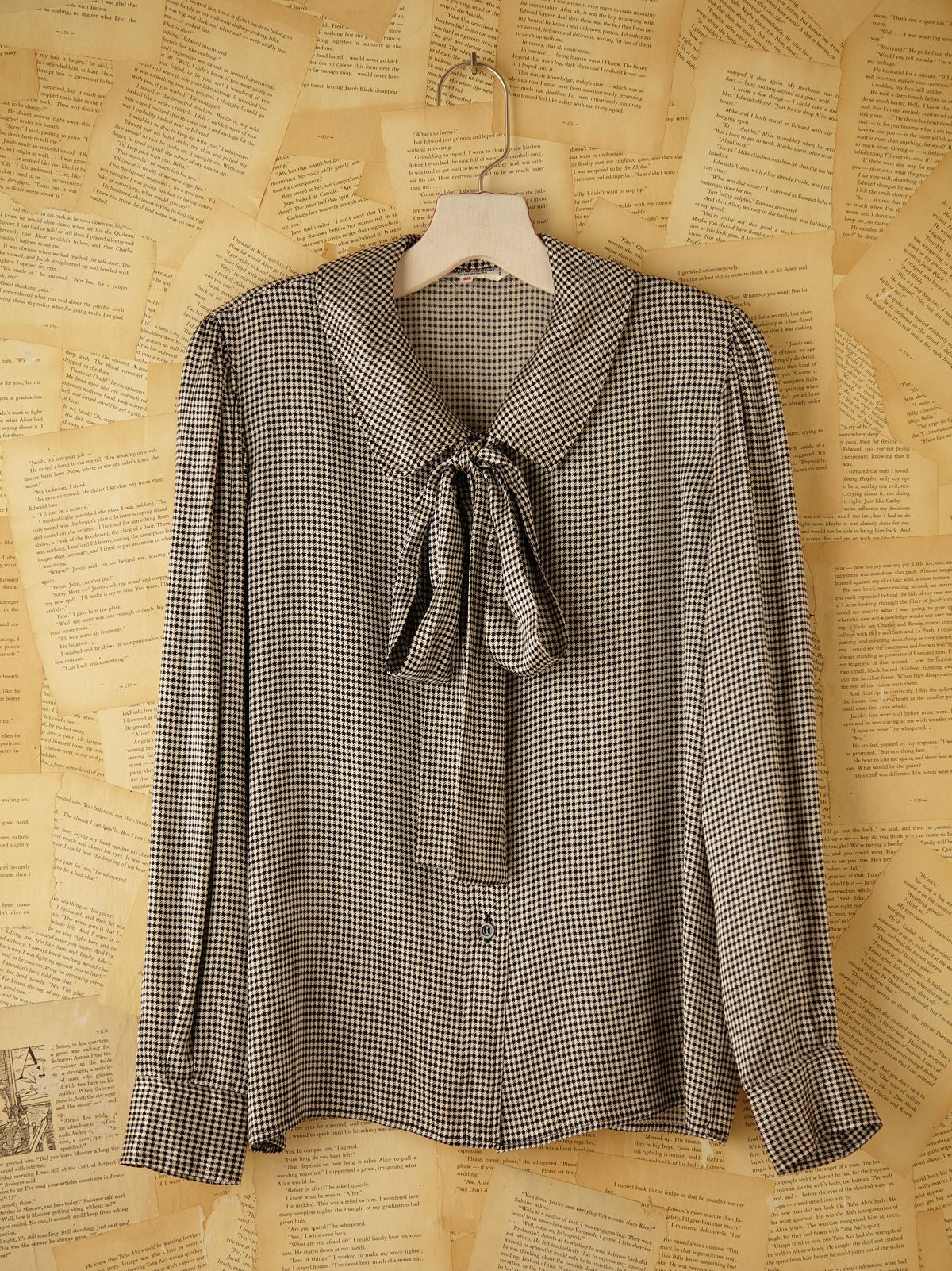 Vintage Yves St. Laurent Houndstooth Silk Blouse