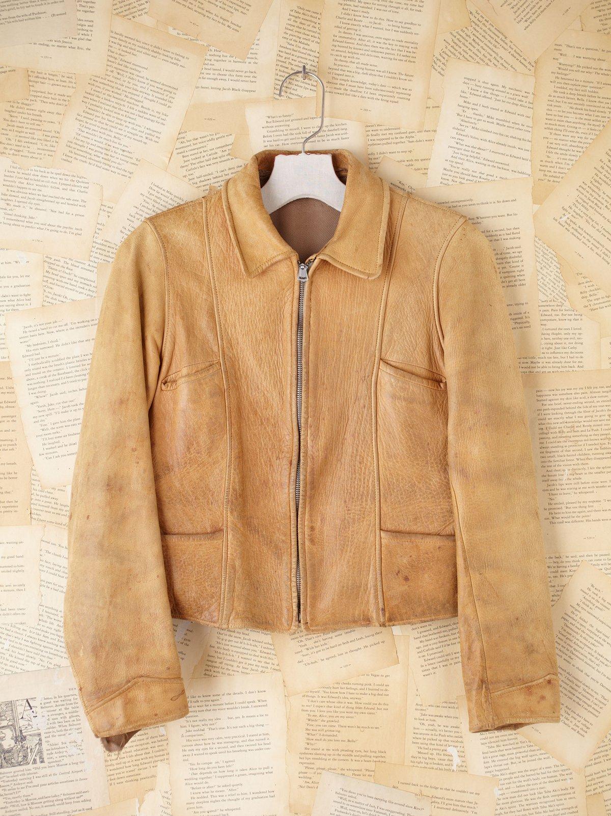 Vintage Cropped Leather Coat