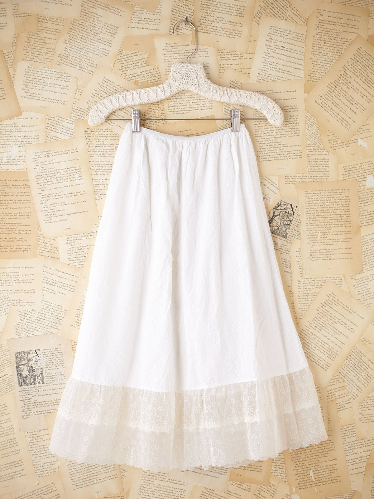 Vintage White Cotton Slip with Sheer Hem