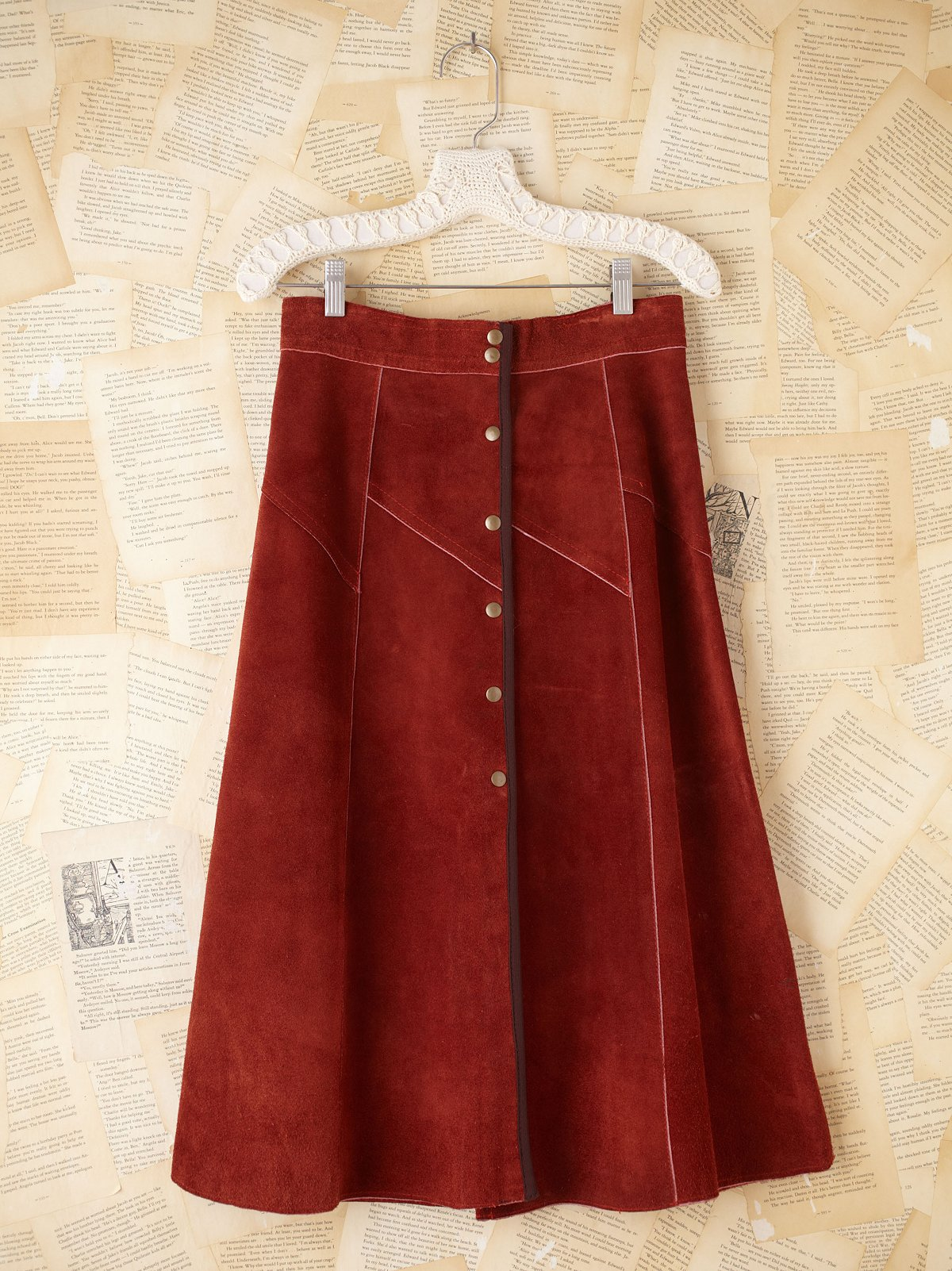 Vintage Suede Button Skirt