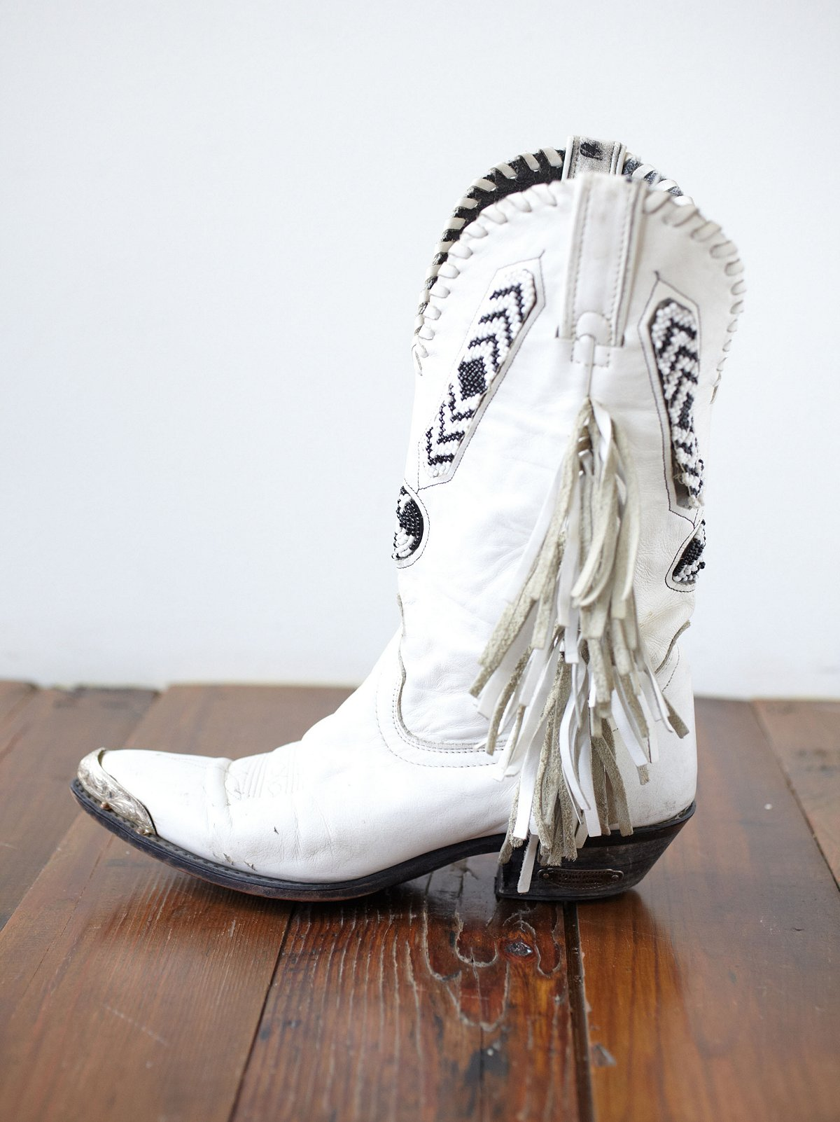 Vintage Steeltip Beaded Boots
