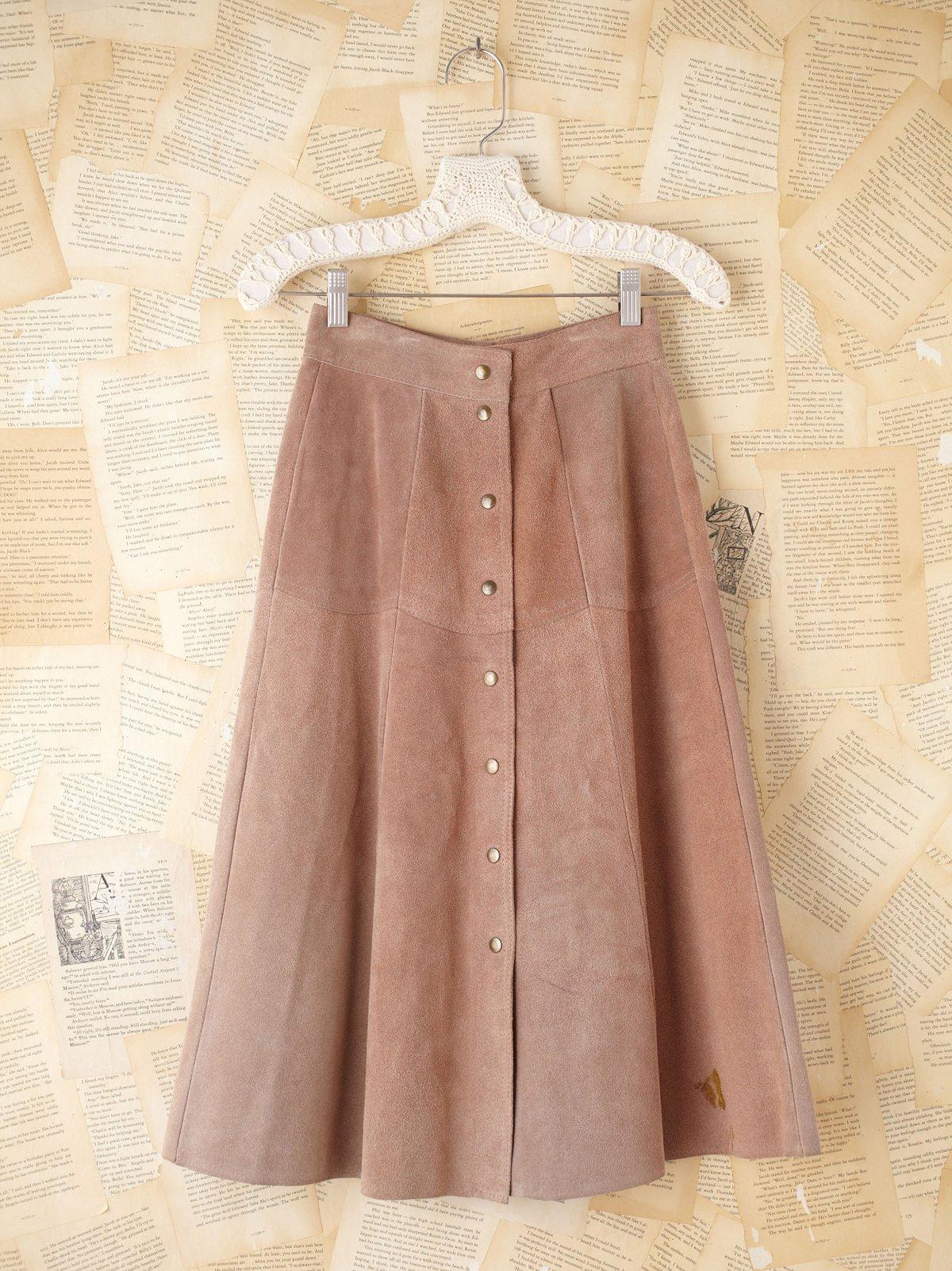 Vintage Suede Buttondown Skirt
