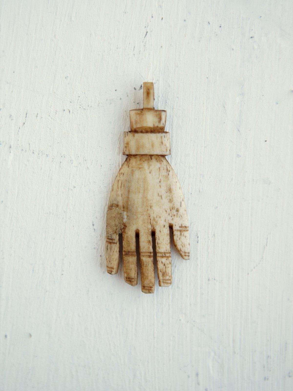 Vintage Carved Hand Pendant