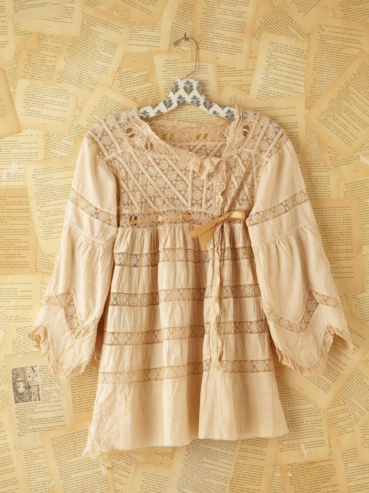 Vintage Linen & Lace Long Sleeve Top