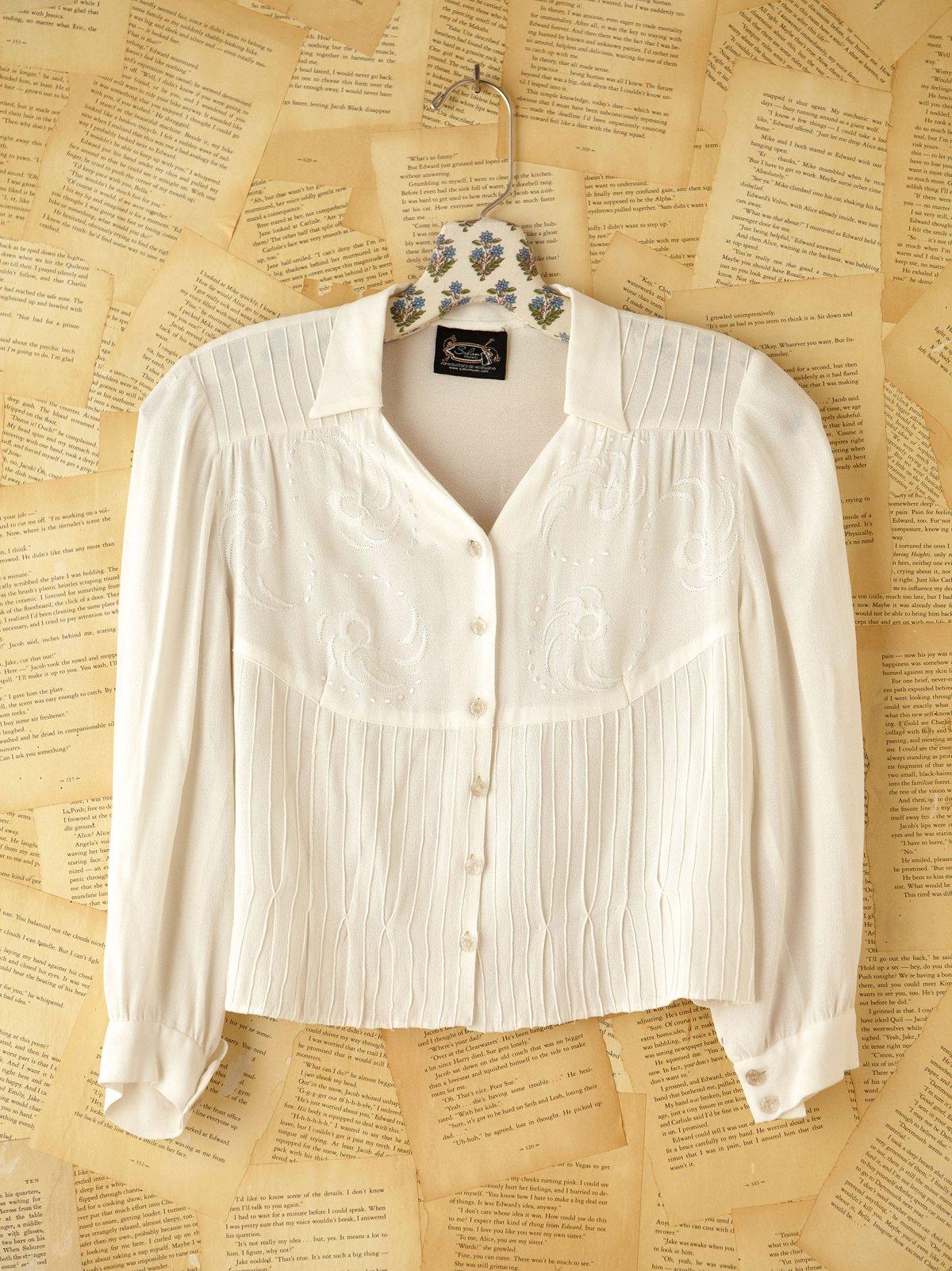 Vintage Silk Long Sleeve Crop Top