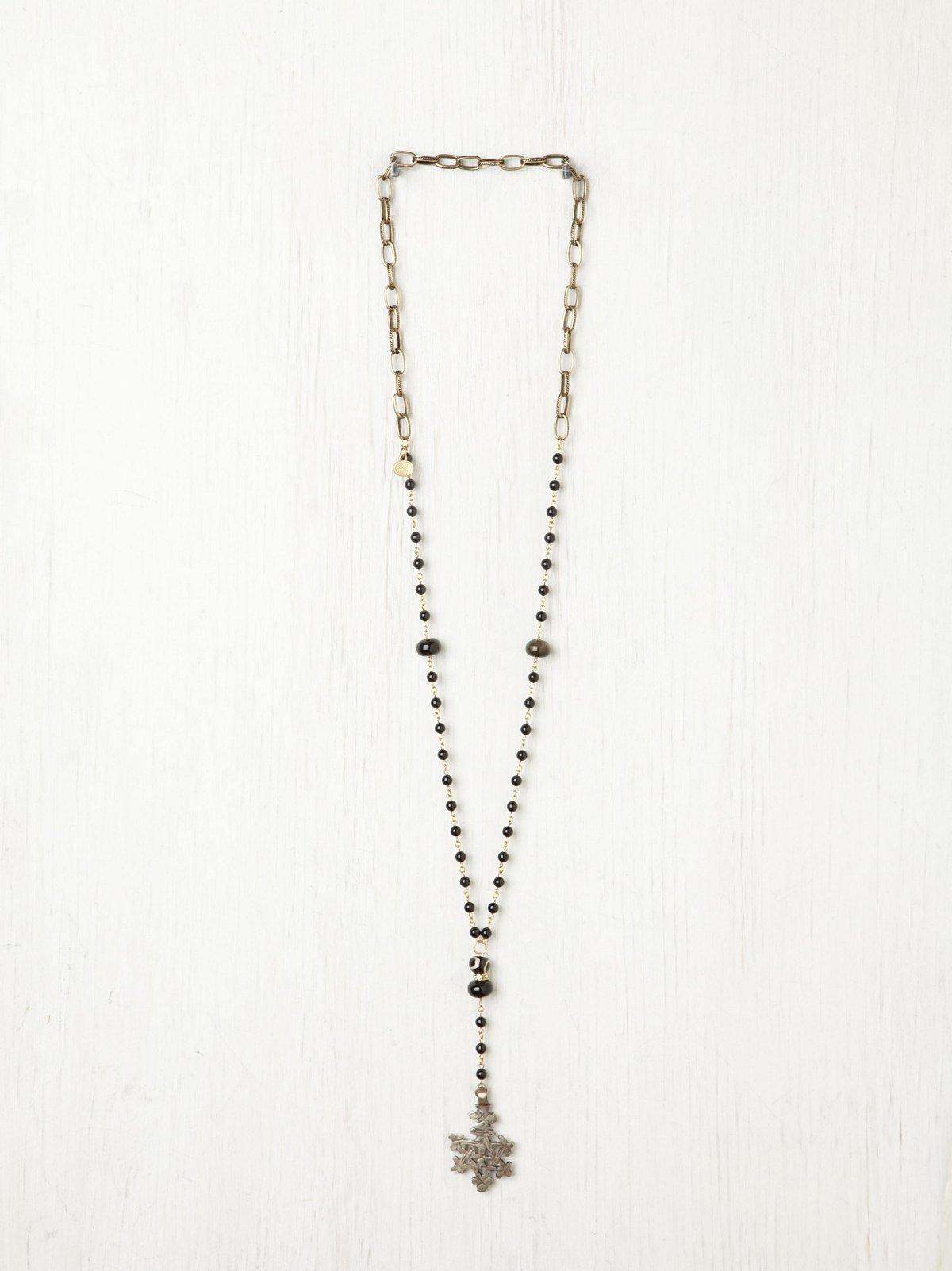 Jet Black Rosary Necklace