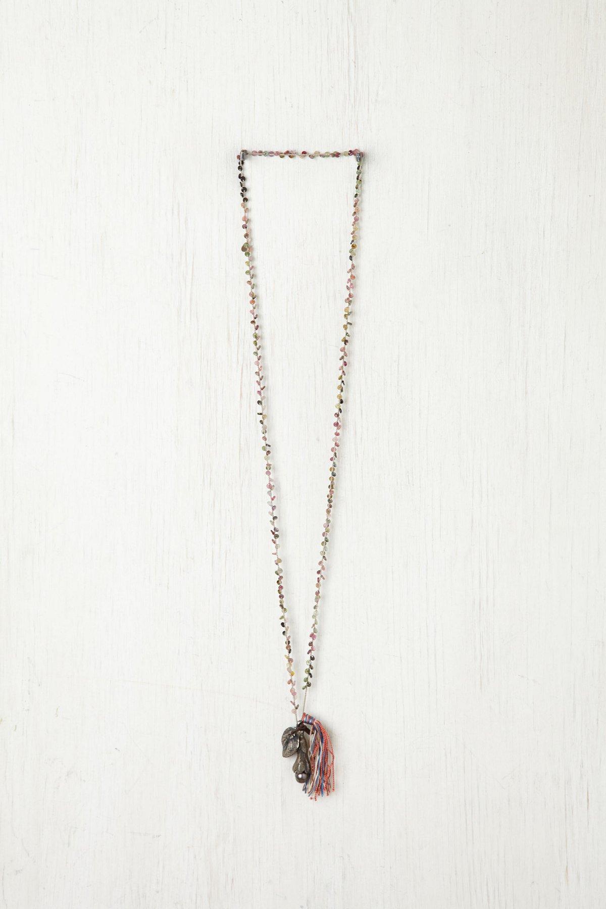 Tassel & Leaf Rosary Necklace