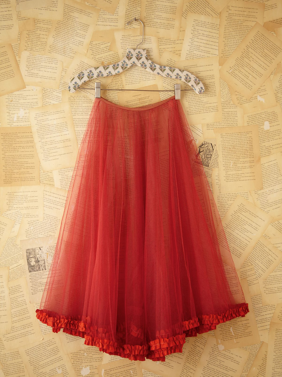 Vintage Red Mesh Skirt