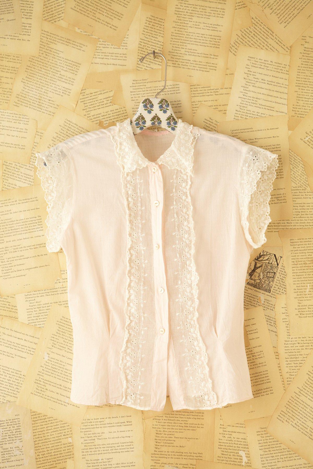 Vintage Lace Panel Button Down Shirt