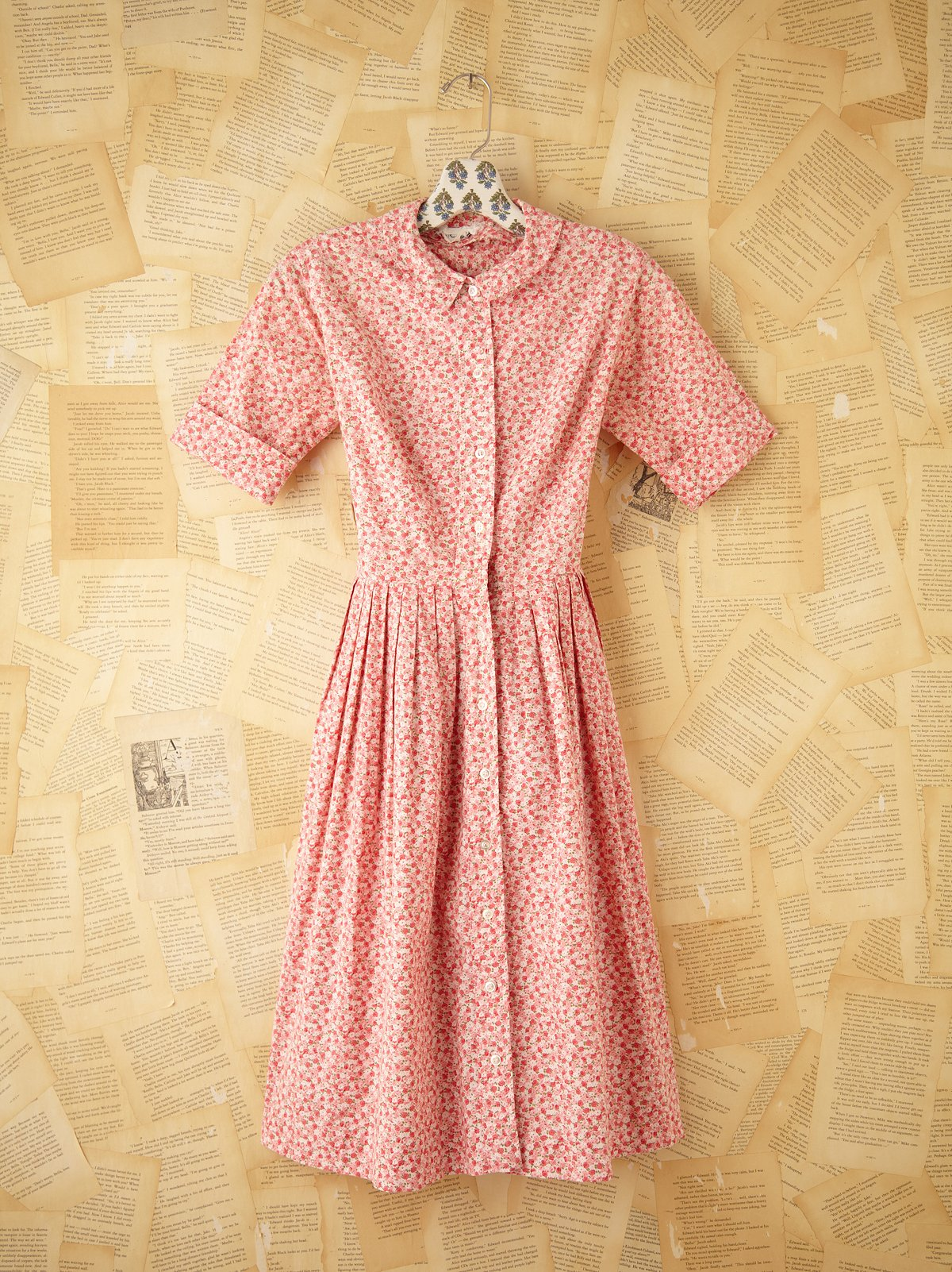 Vintage Pink Ditzy Floral Dress