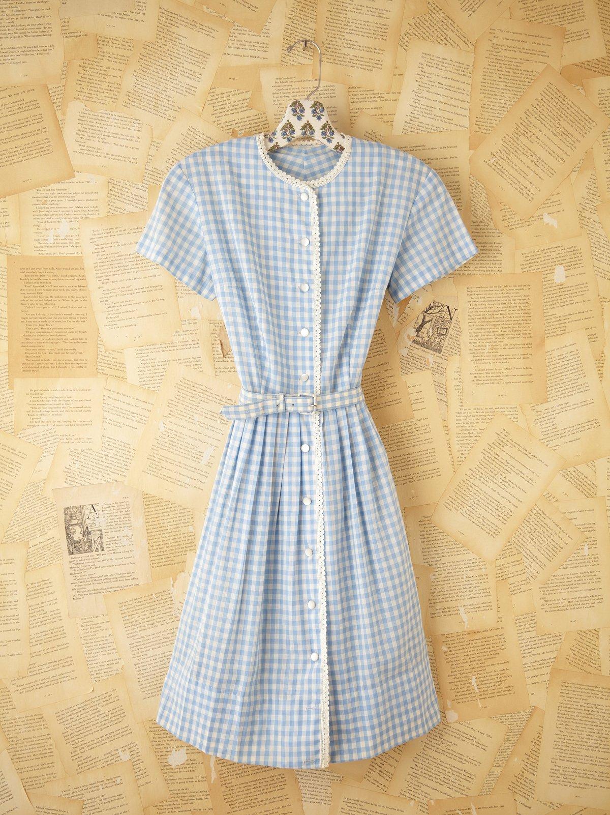 Vintage Gingham Shirt Dress