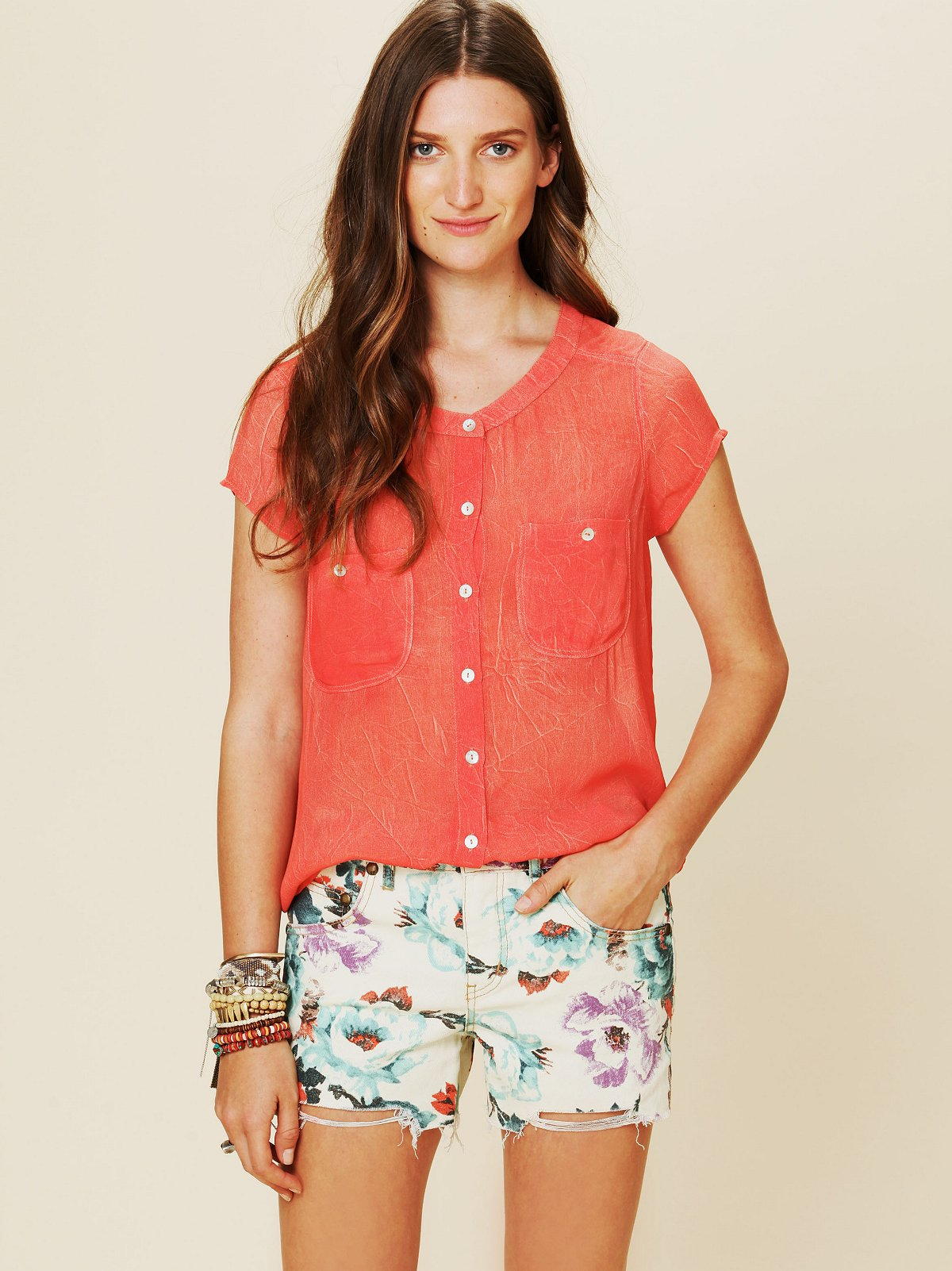 We The Free Marble Effect Buttondown Top