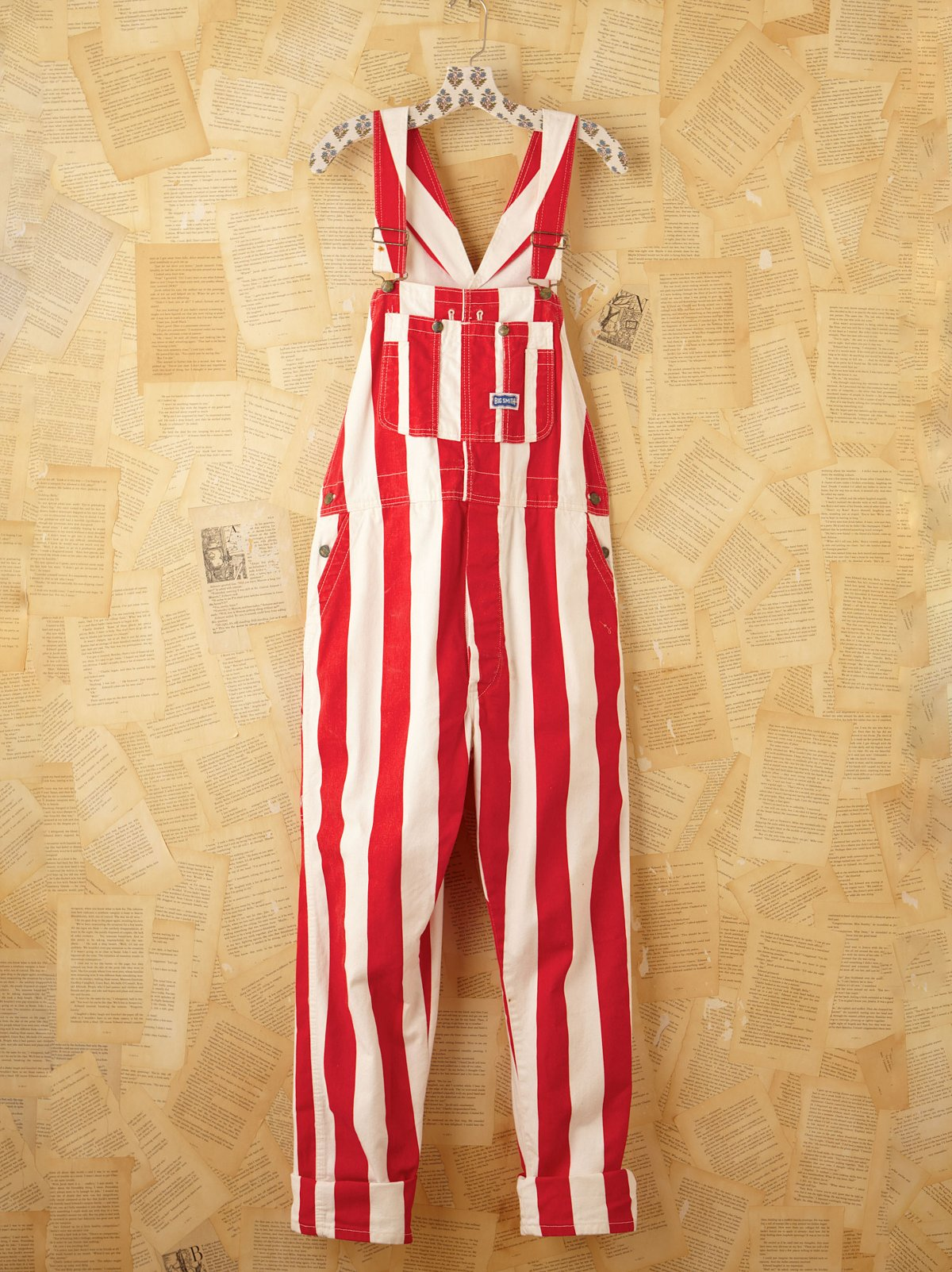 Vintage Red and White Striped Painter Overalls