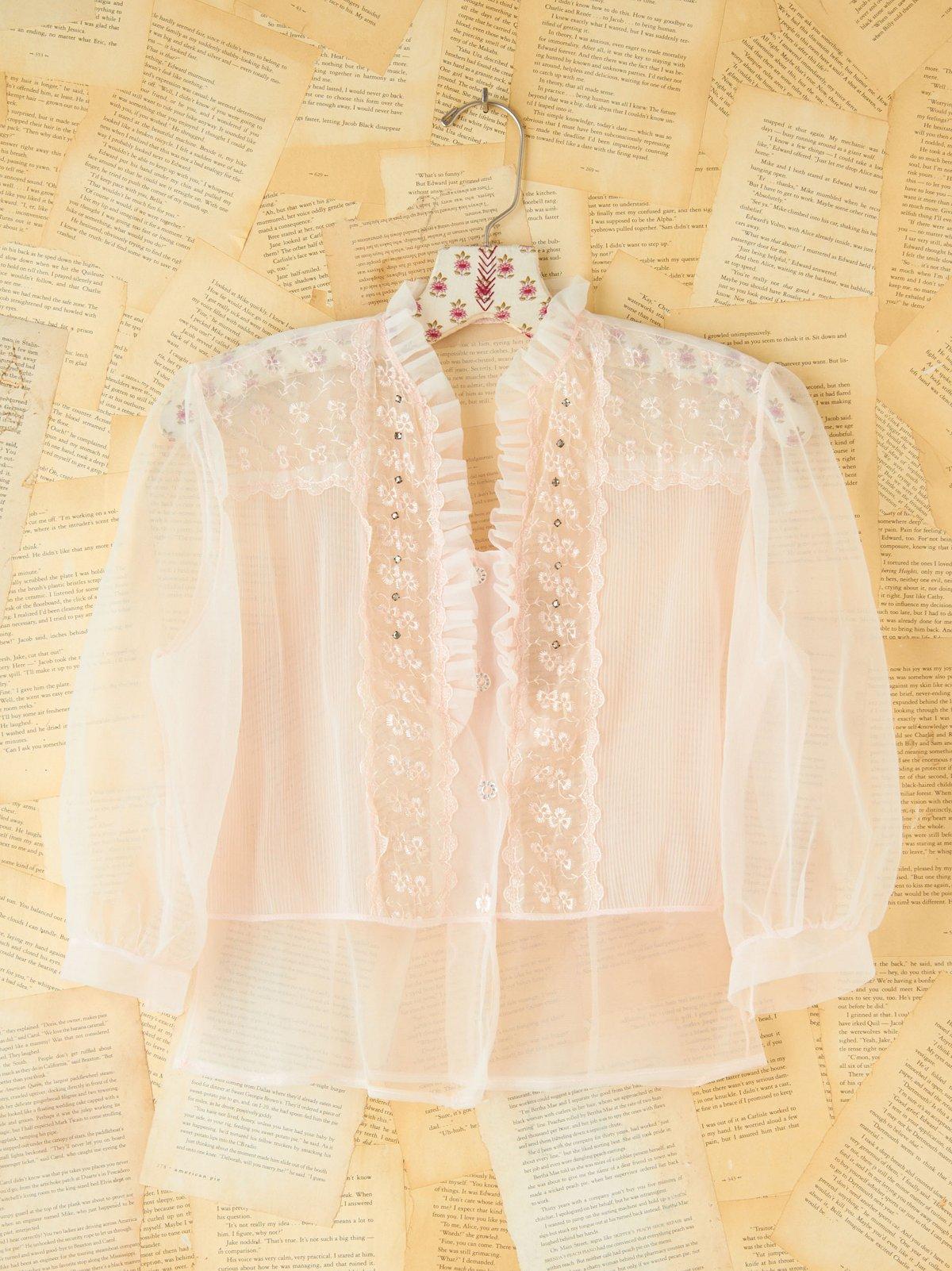 Vintage 1950s Sheer Pink Top