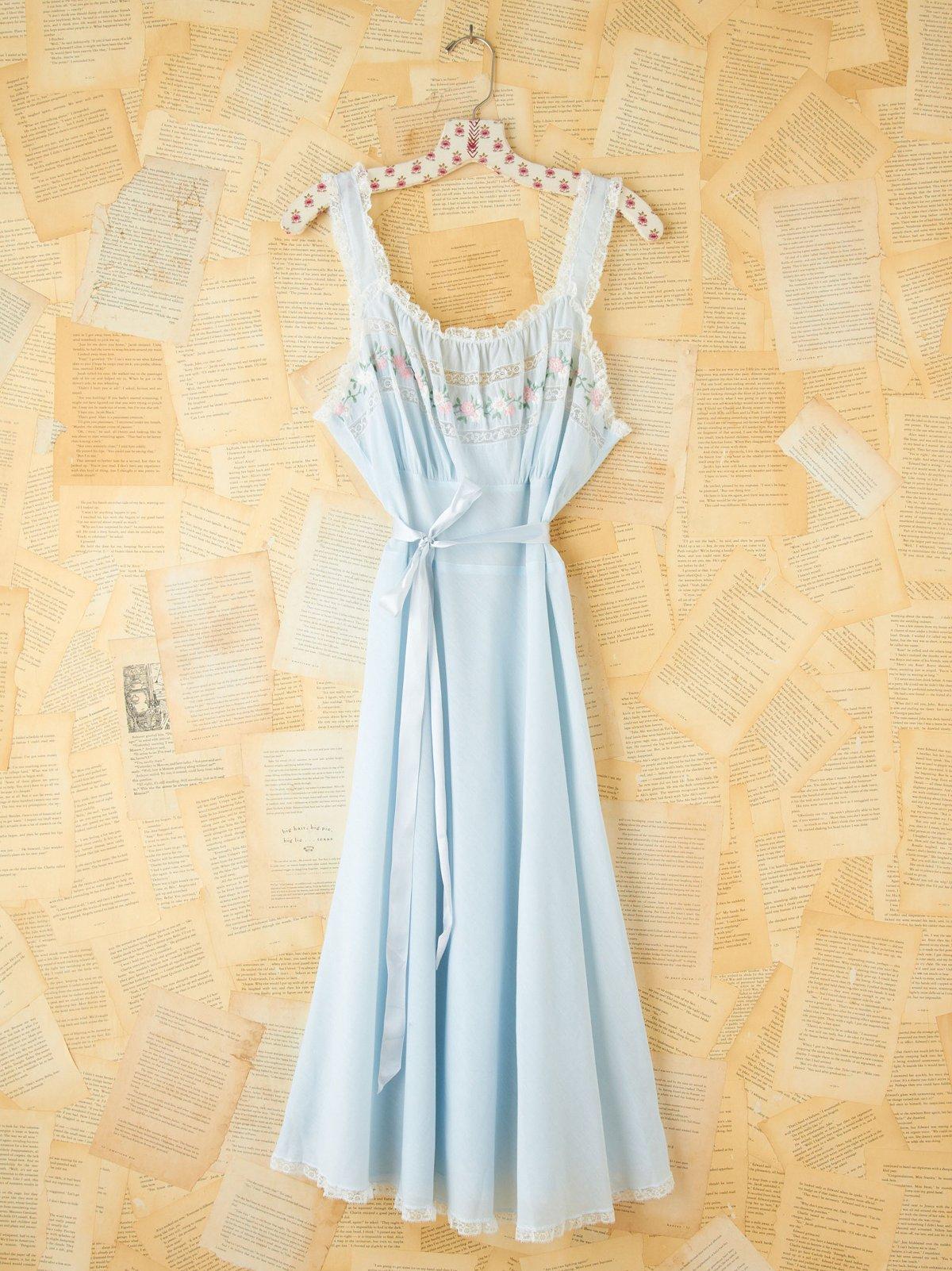 Vintage Blue Cotton Lace Tank Dress