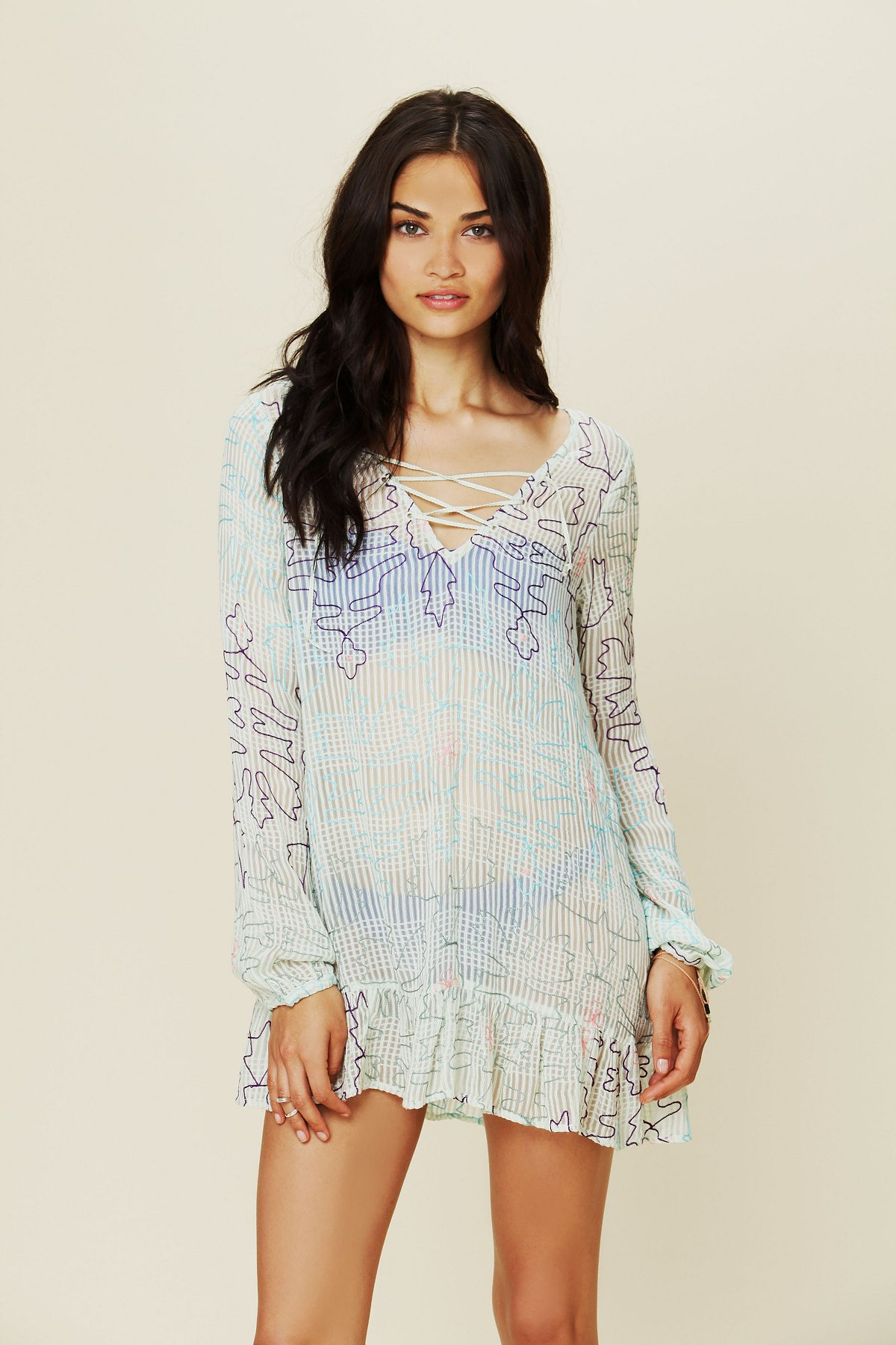 Neon Floral Embroidered Tunic