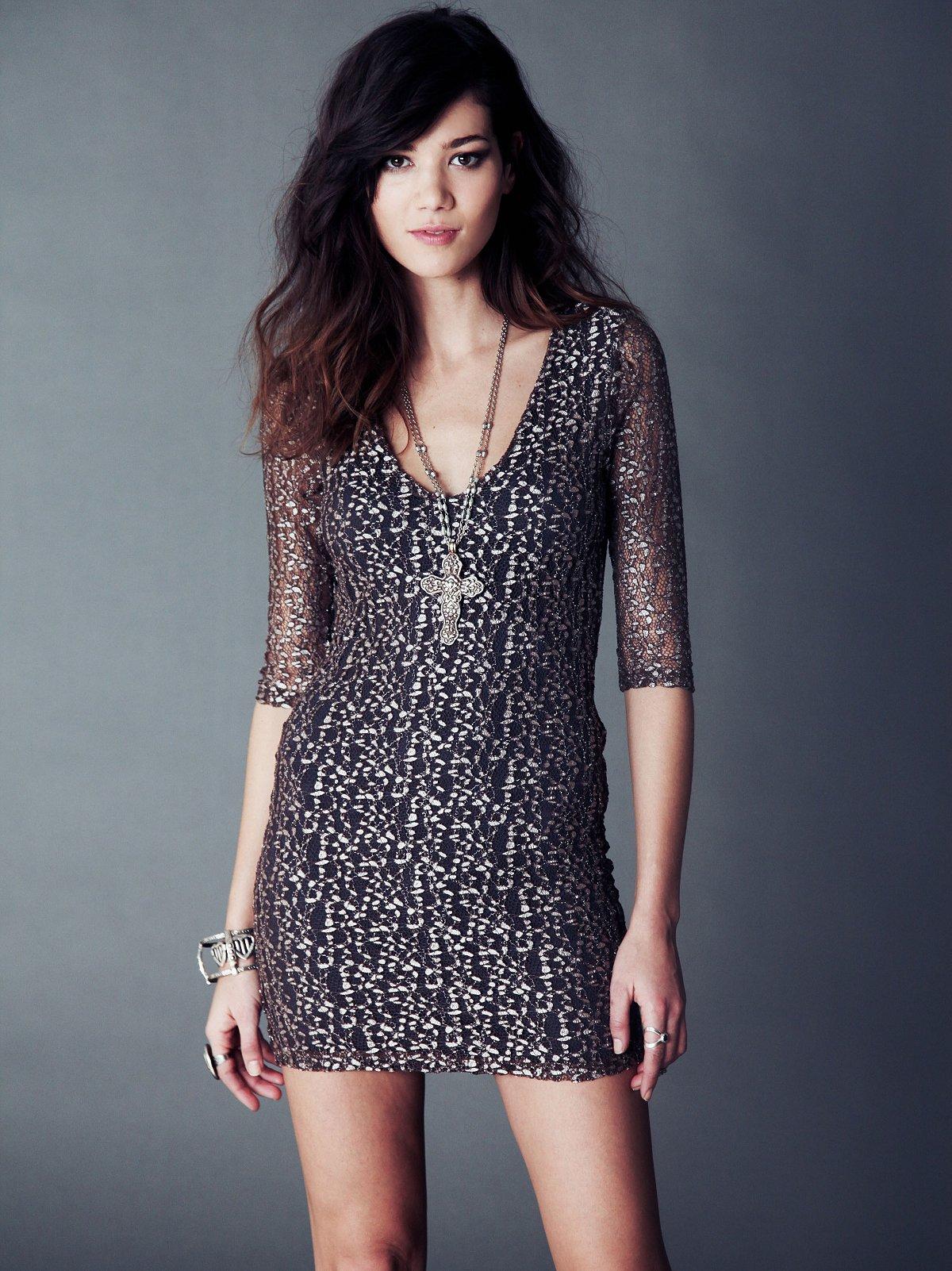 Cheetah Lace Deep V Dress