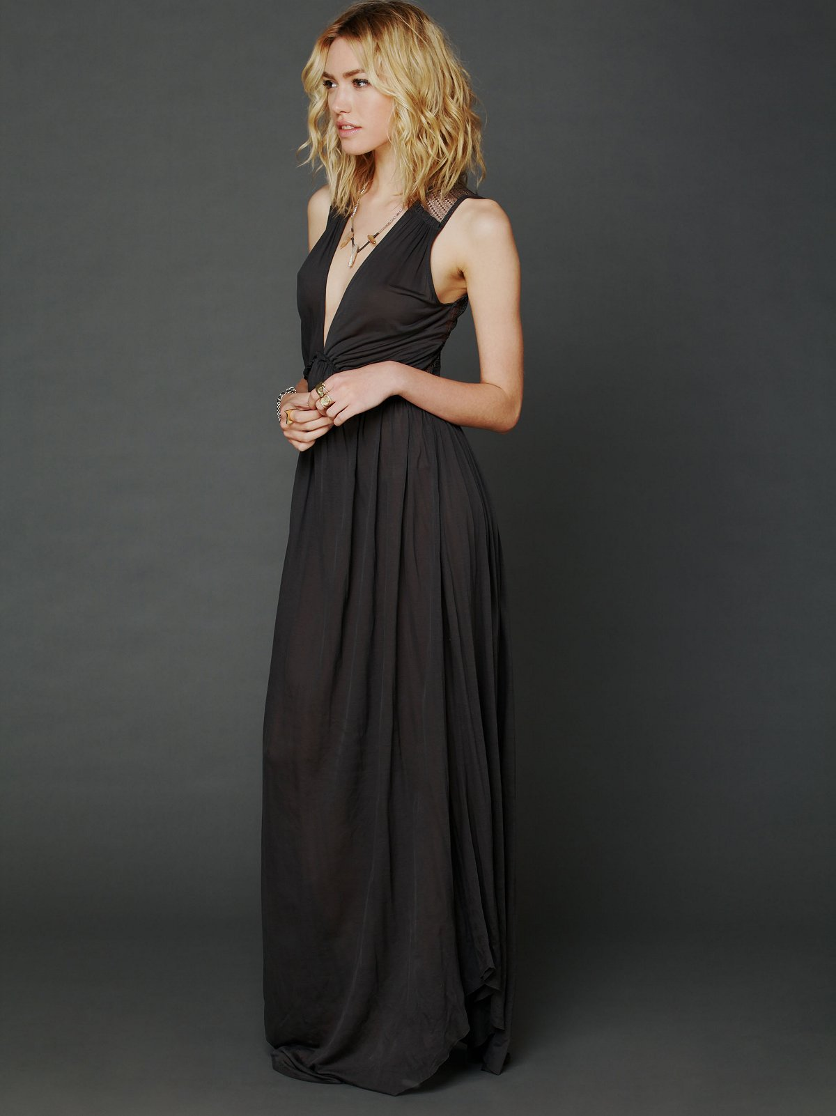Plunging V Maxi Dress