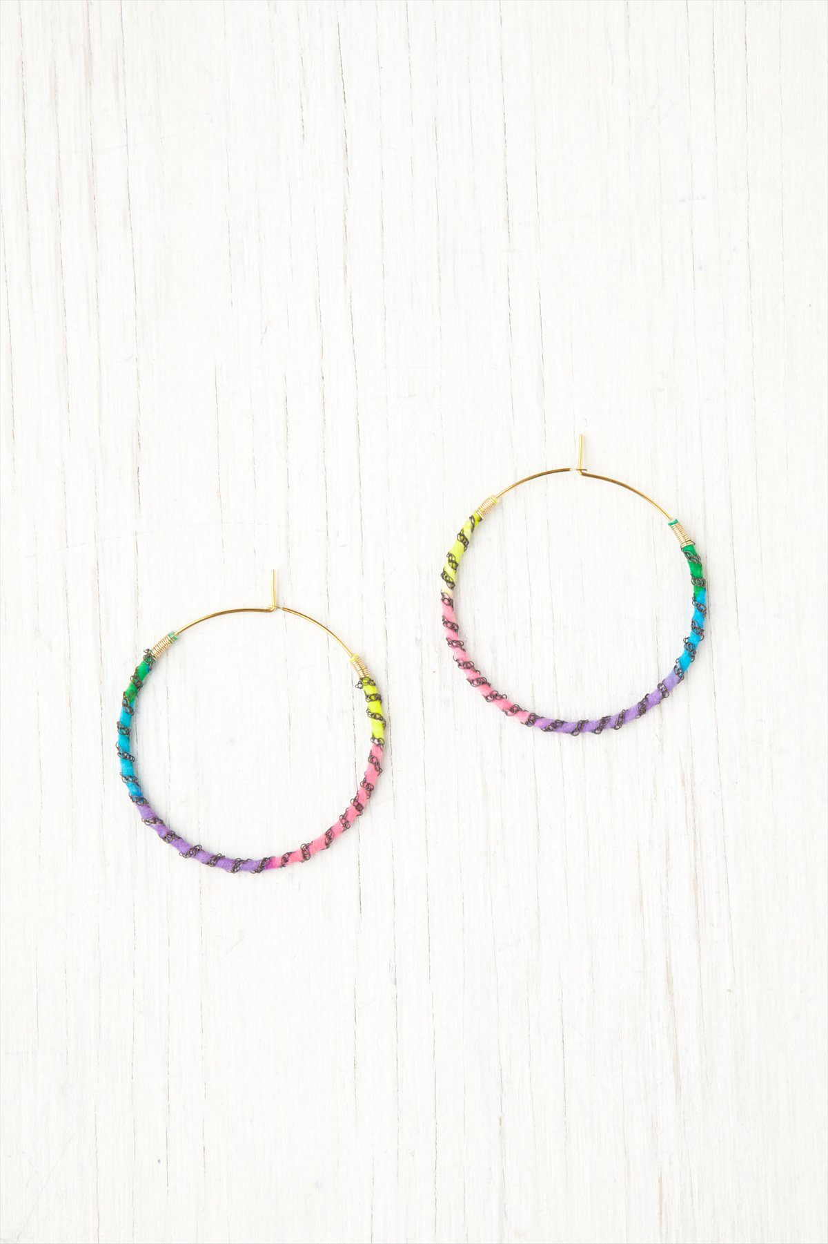 Black Chain Wrapped Rainbow Hoops